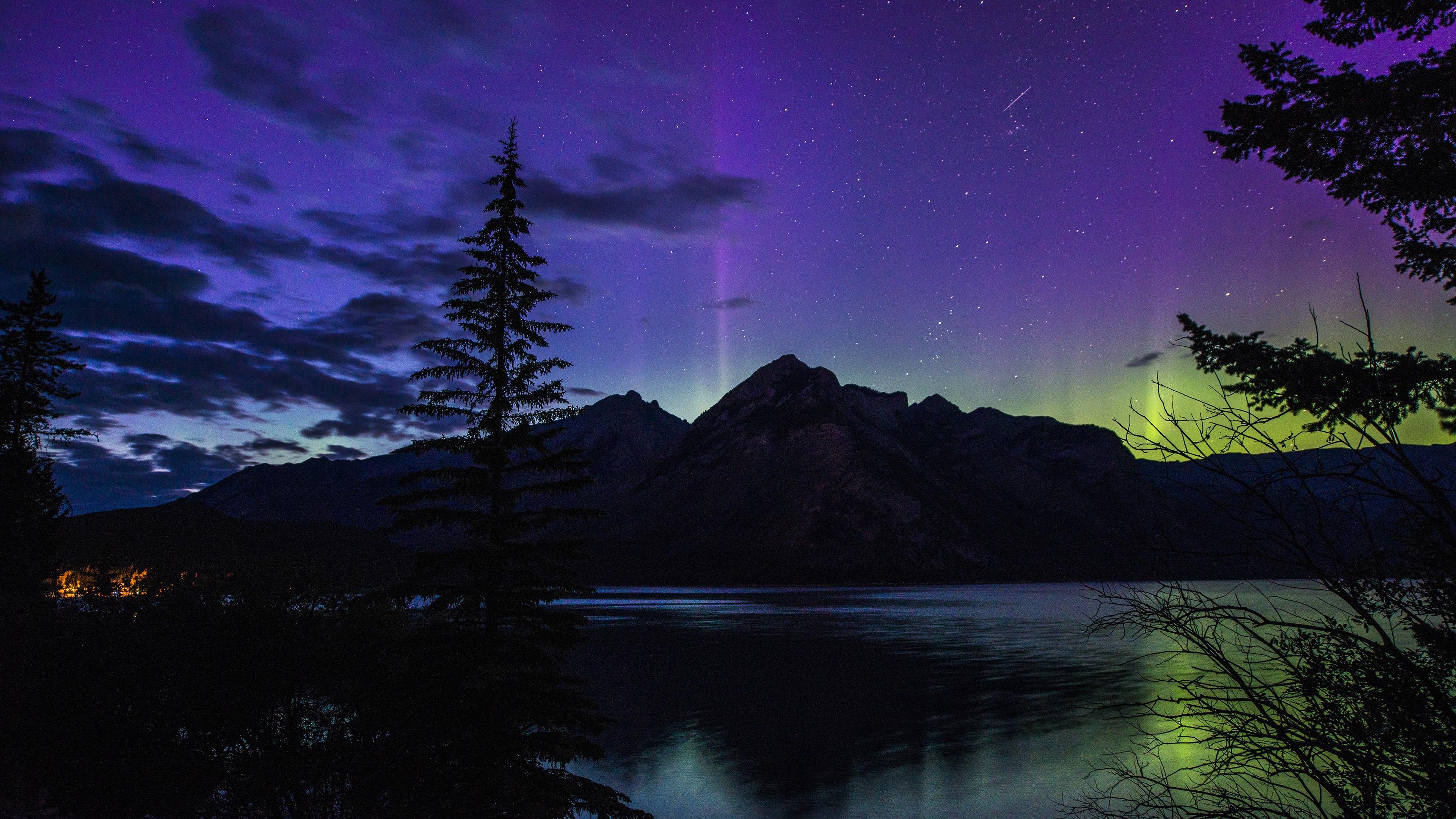 Banff National Park Aurora Canada 4K Desktop Wallpaper Uploaded by  DesktopWalls