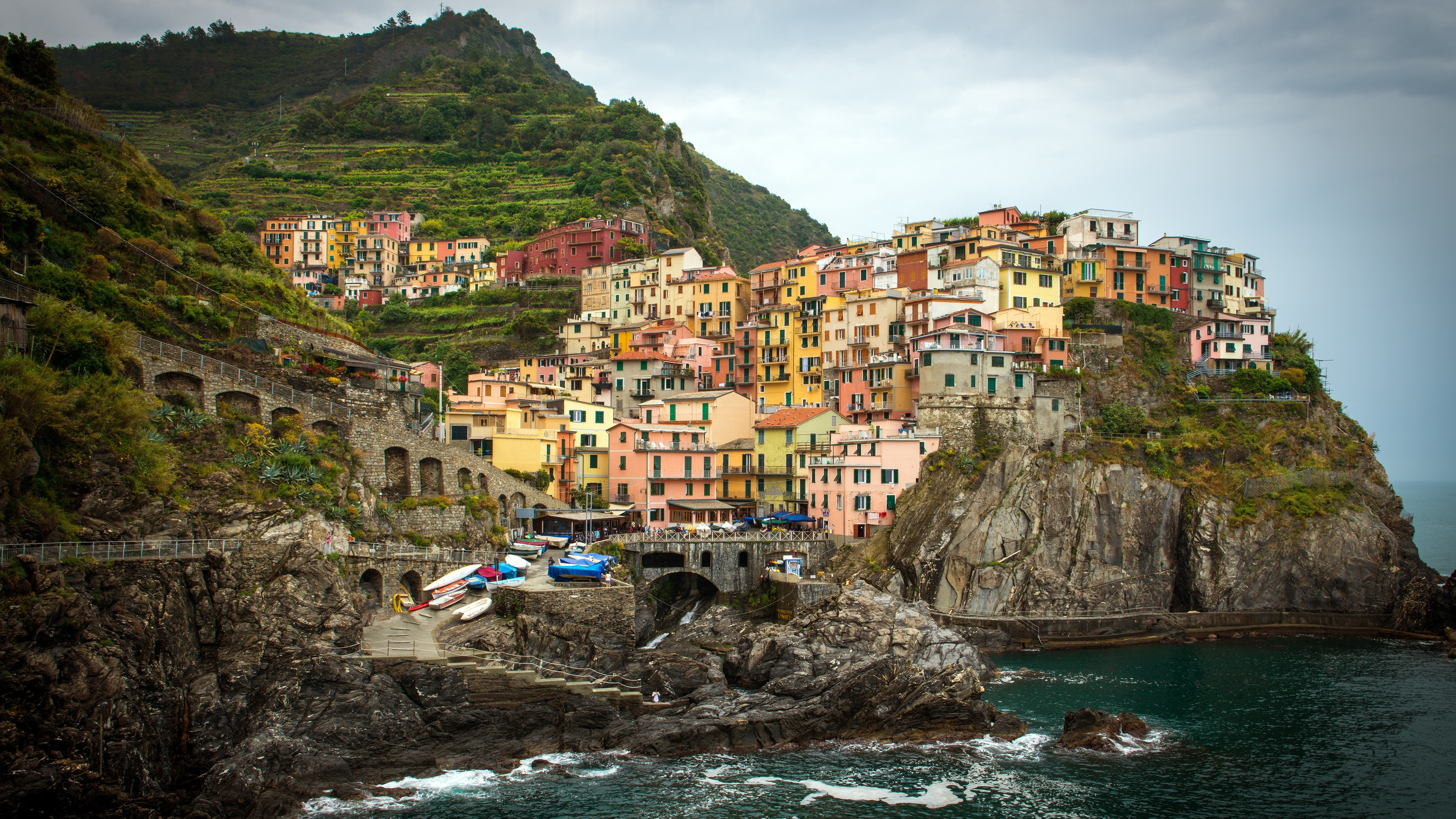 Cinque Terre Italy Villages 4K Desktop Wallpaper Uploaded by DesktopWalls