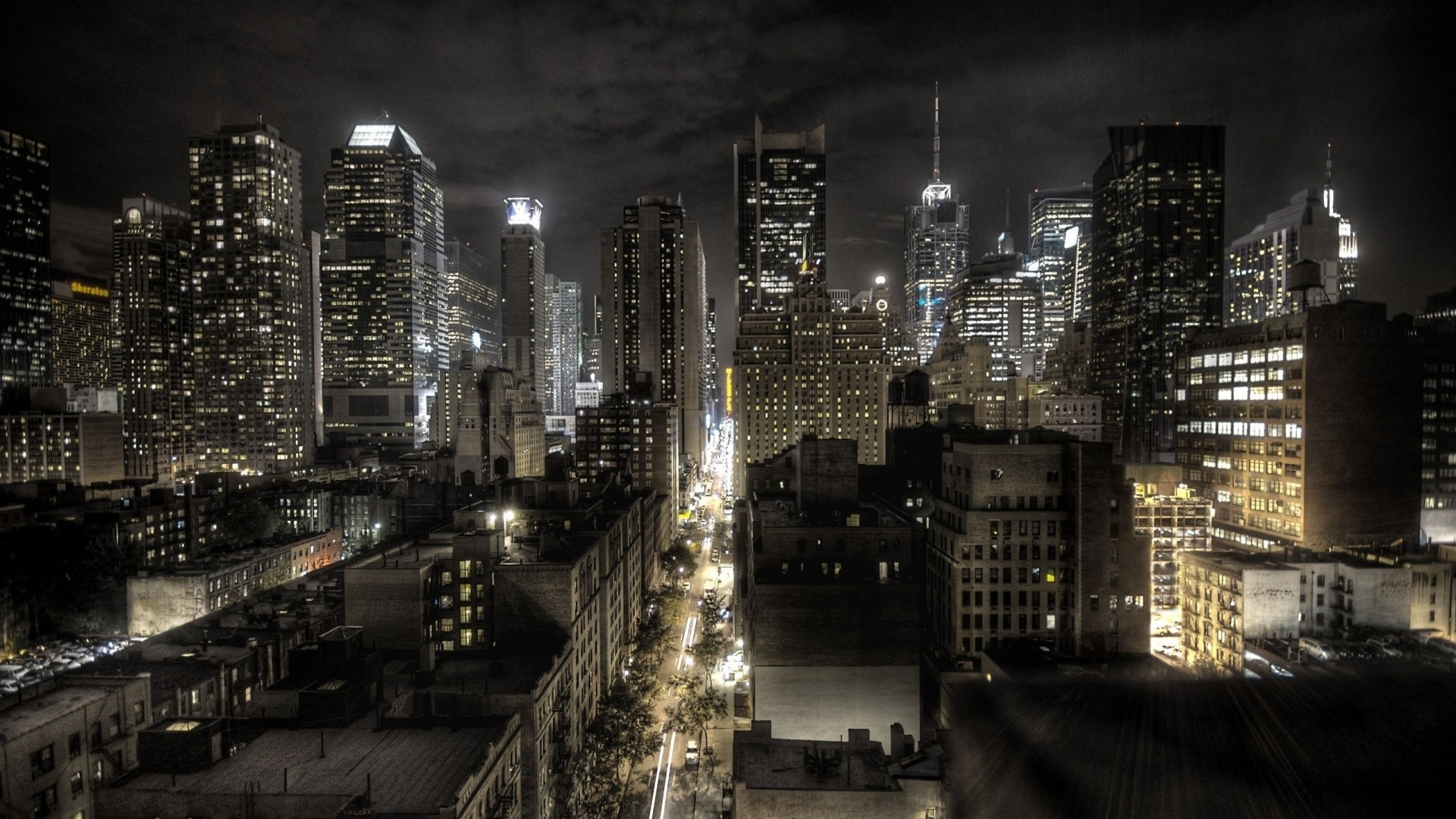 Preview wallpaper new york, united states of america, night, top view, hdr