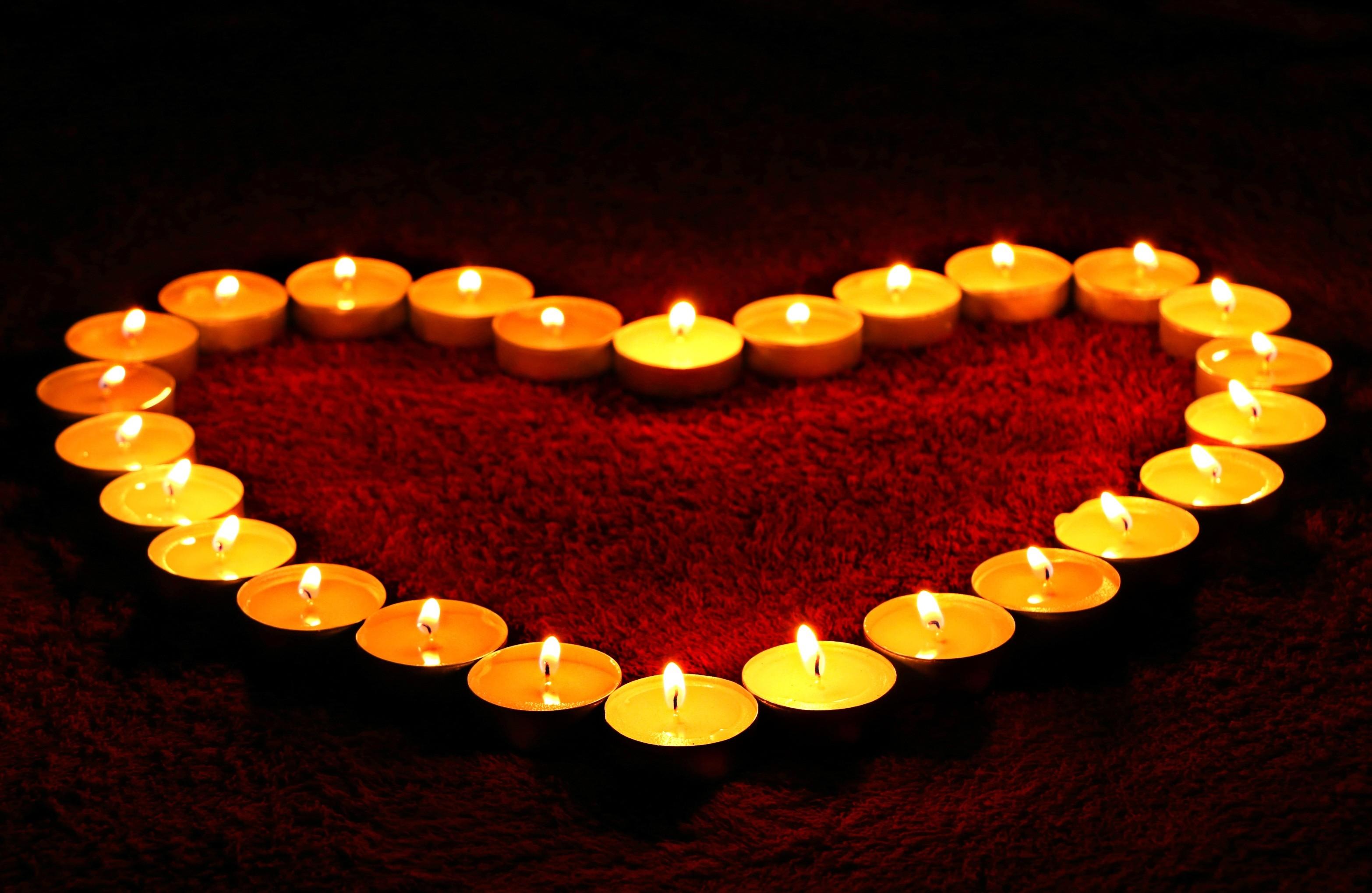 Love heart, Candle lights, HD
