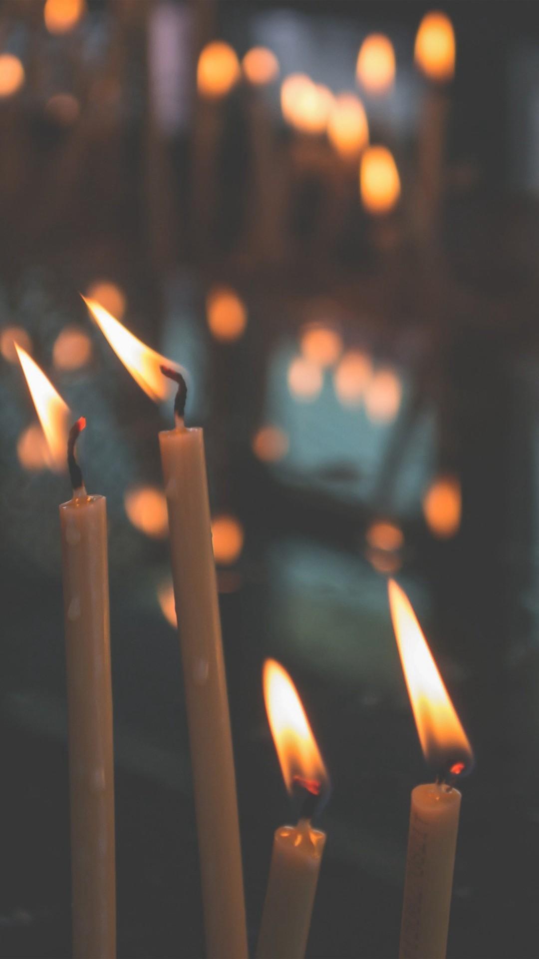 Bokeh Candle Light Nature iPhone 8 wallpaper