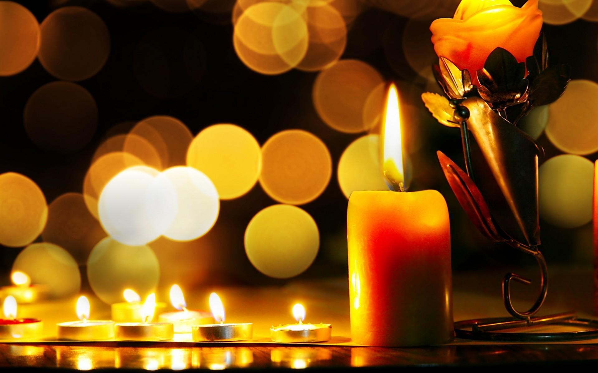 Beautiful Light A Candle Bokeh Wallpaper HD Wallpaper