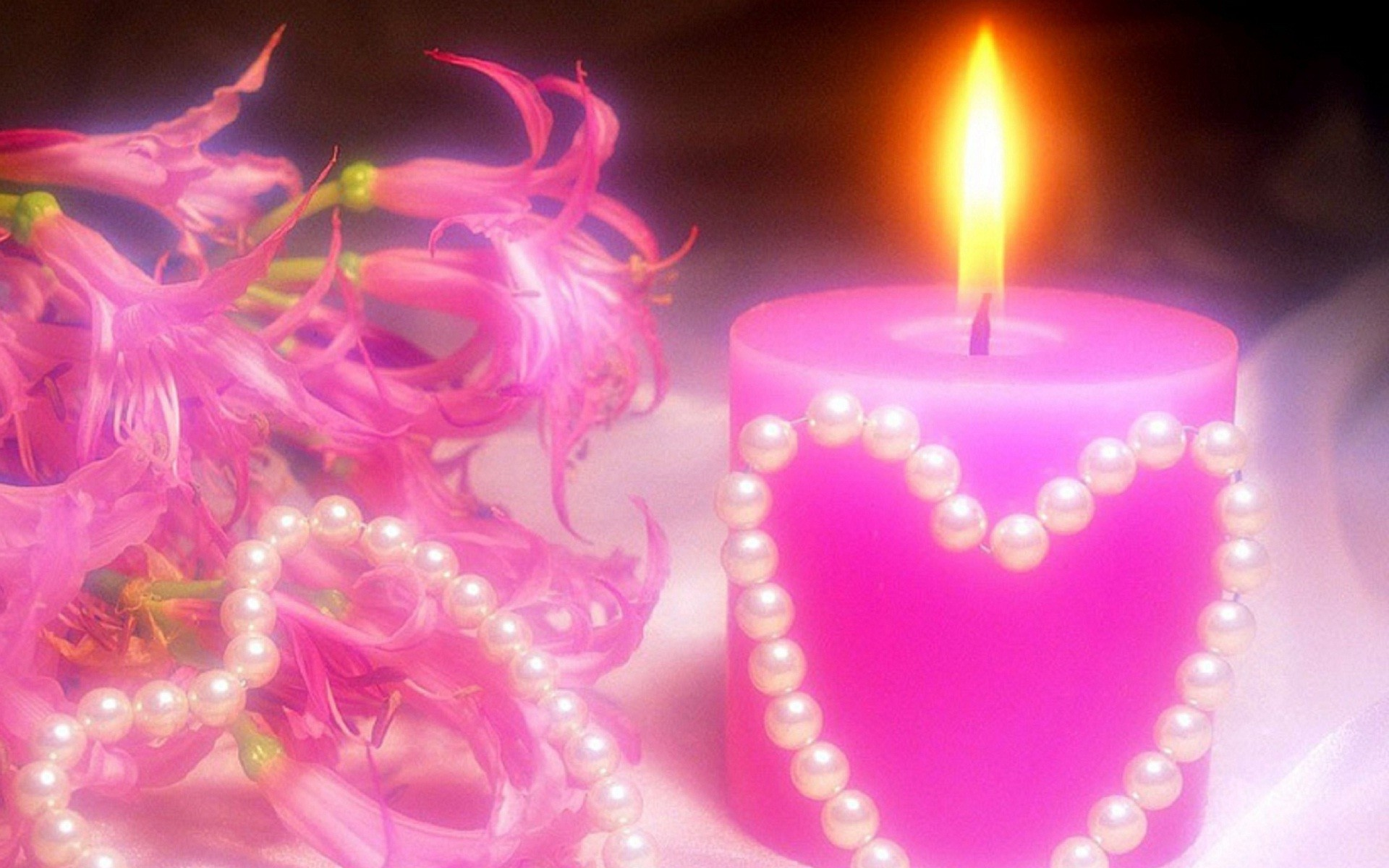Pink candle lights HD wallpaper