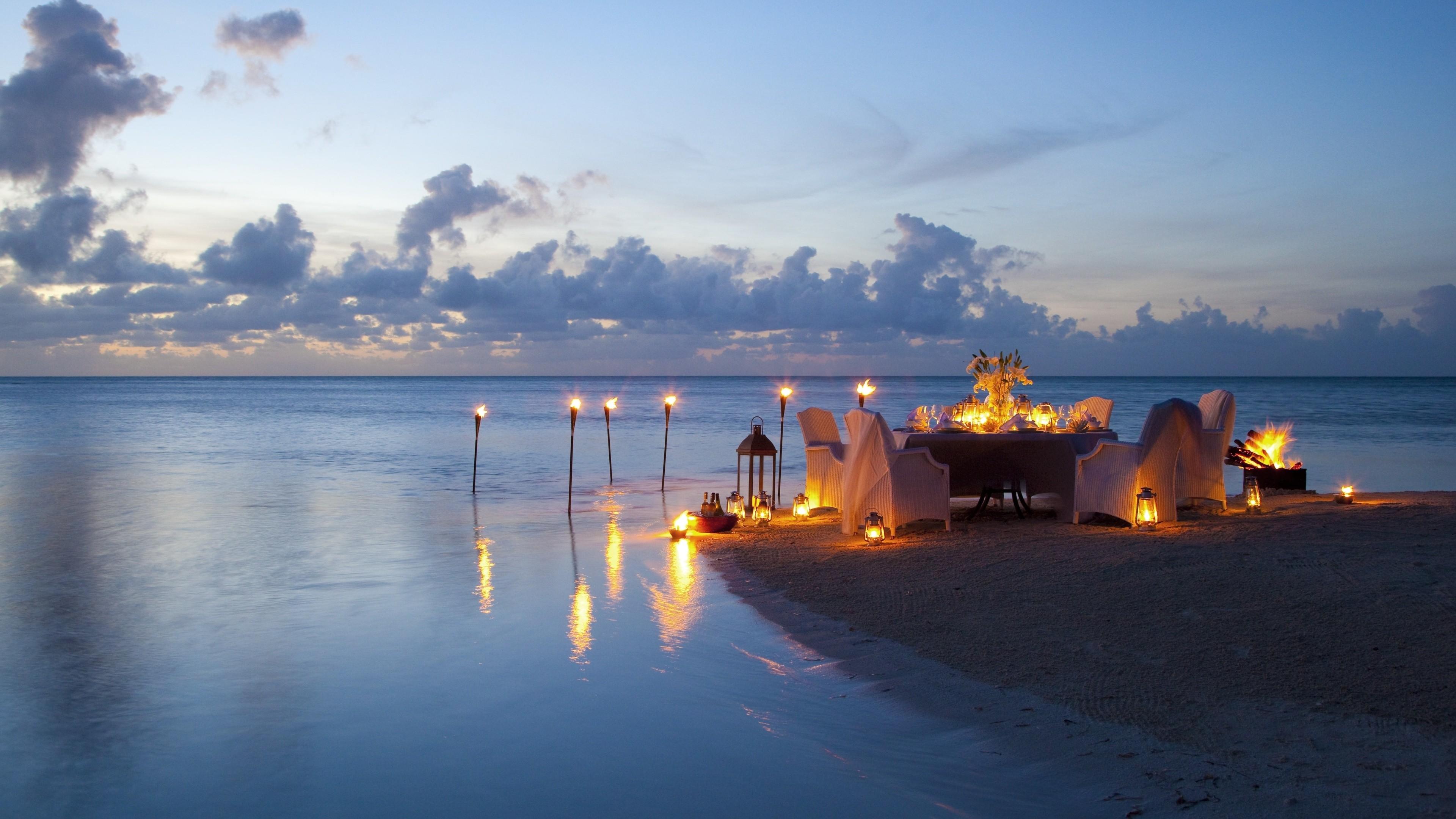 Romantic Candle Light Dinner At Beach
