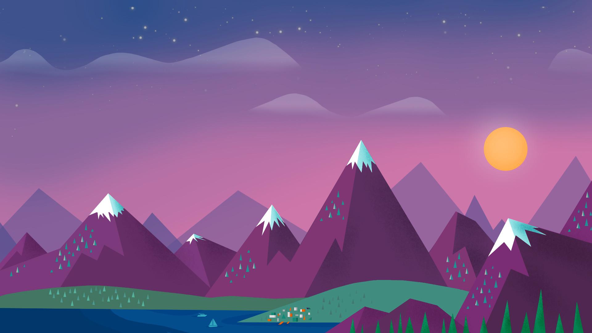 Preview wallpaper minimalism, sky, clouds, sun, mountains, lake, landscape  1920×1080