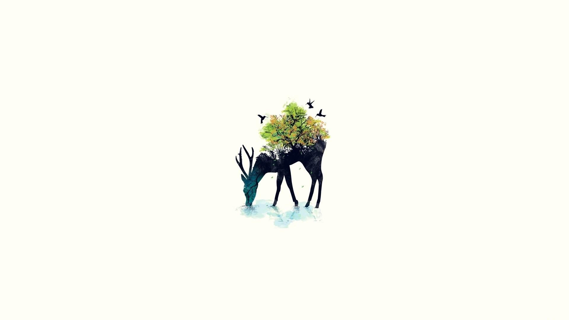 Preview wallpaper deer, minimalism, vector, background, nature 1920×1080