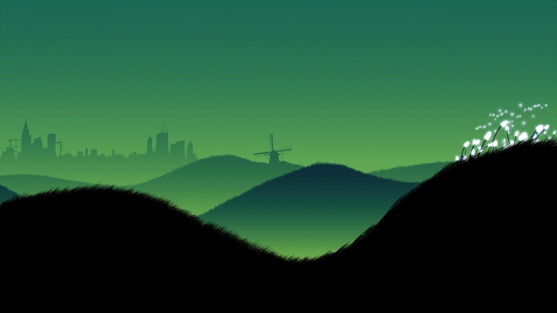 Wallpaper hills, landscape, minimalism, evening, sky, beauty