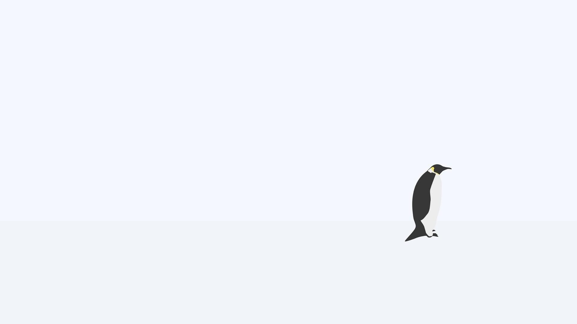 Preview wallpaper penguin, minimalism, snow 1920×1080