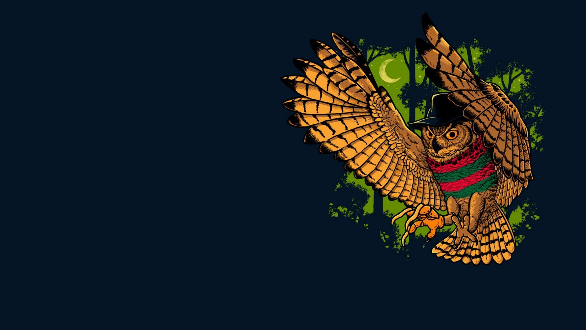 Preview wallpaper owl, bird, freddy krueger, minimalism 1920×1080