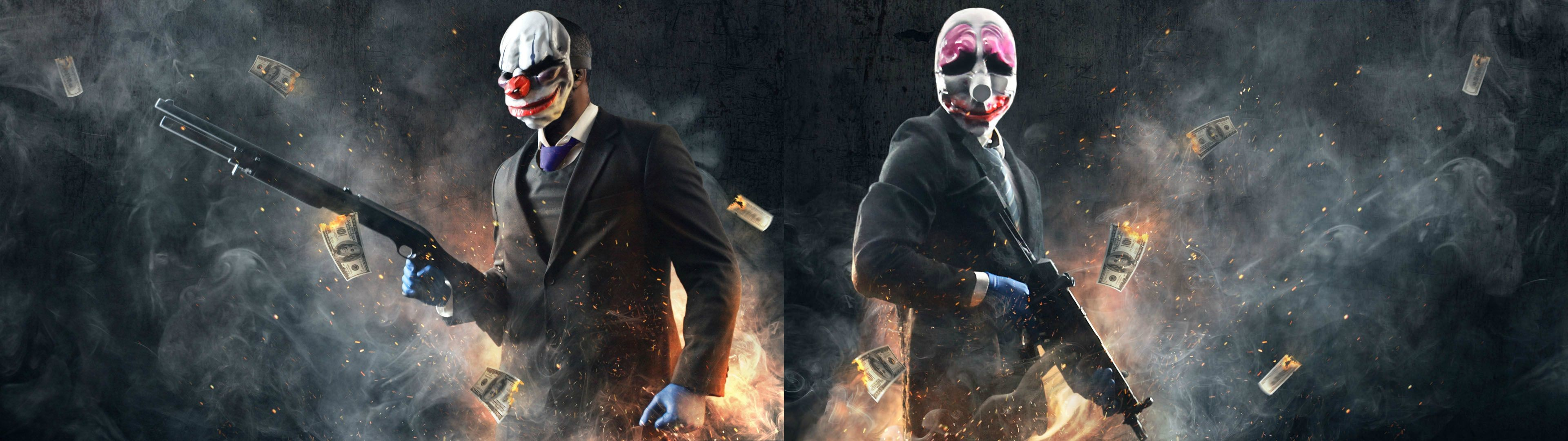 A Payday 2 dual monitor wallpaper i made from steam cards (3840×1080) …