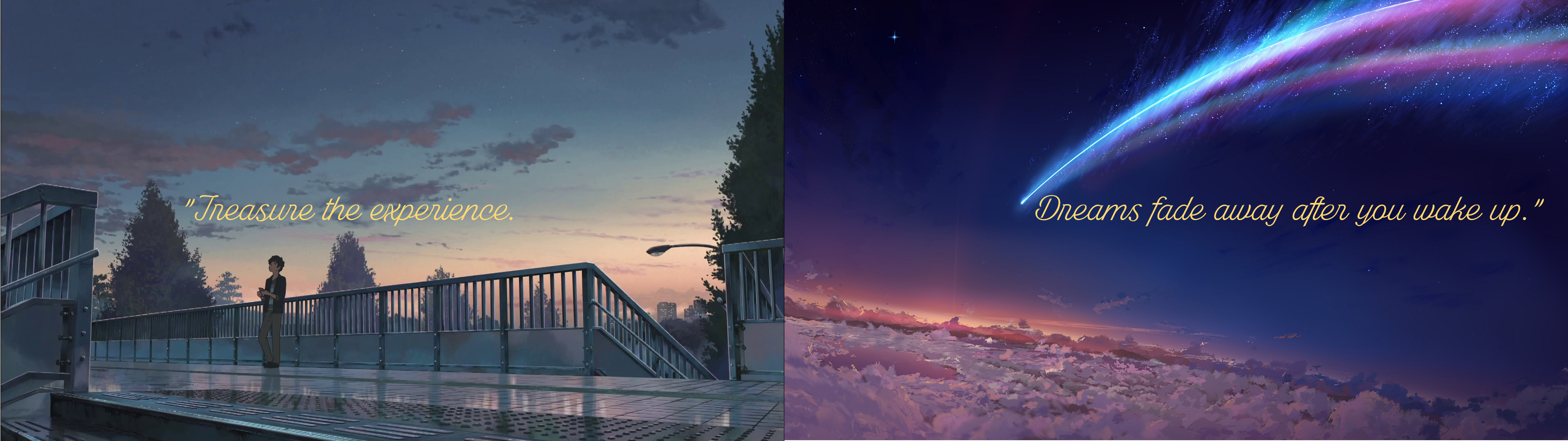 """""""Your name"""" dual monitor wallpaper."""