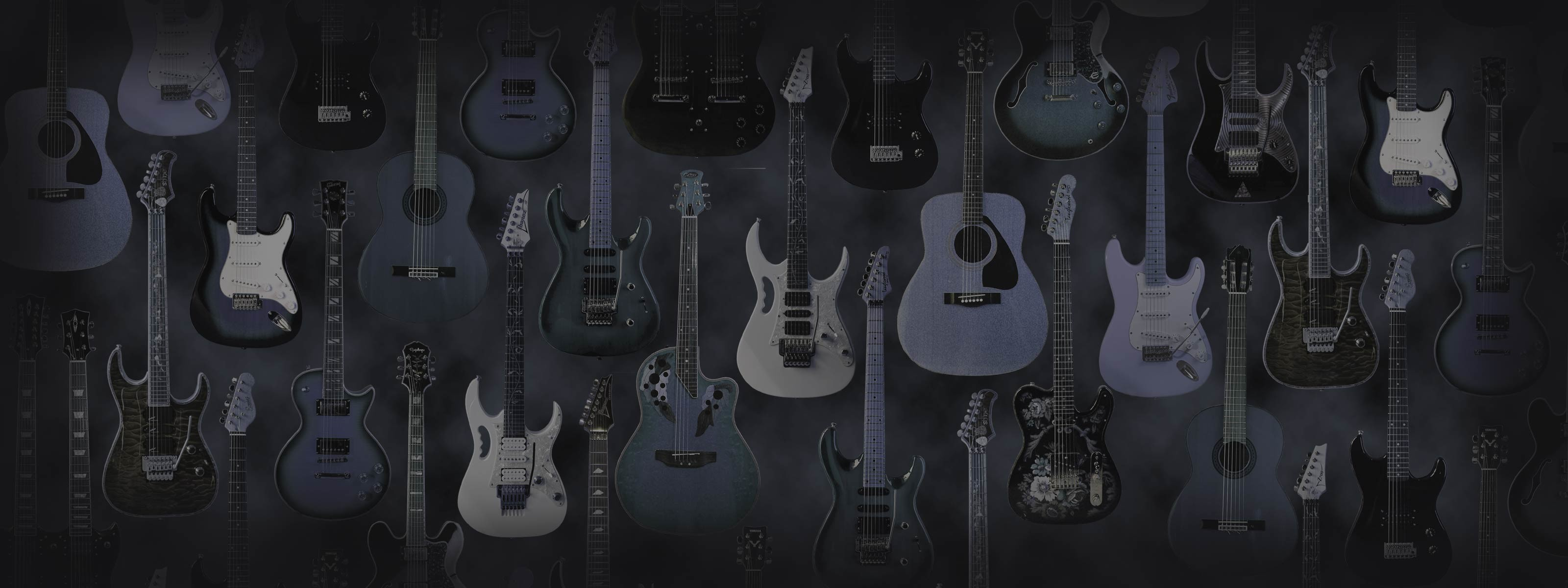 Dual monitor wallpaper, electric and acoustic guitars