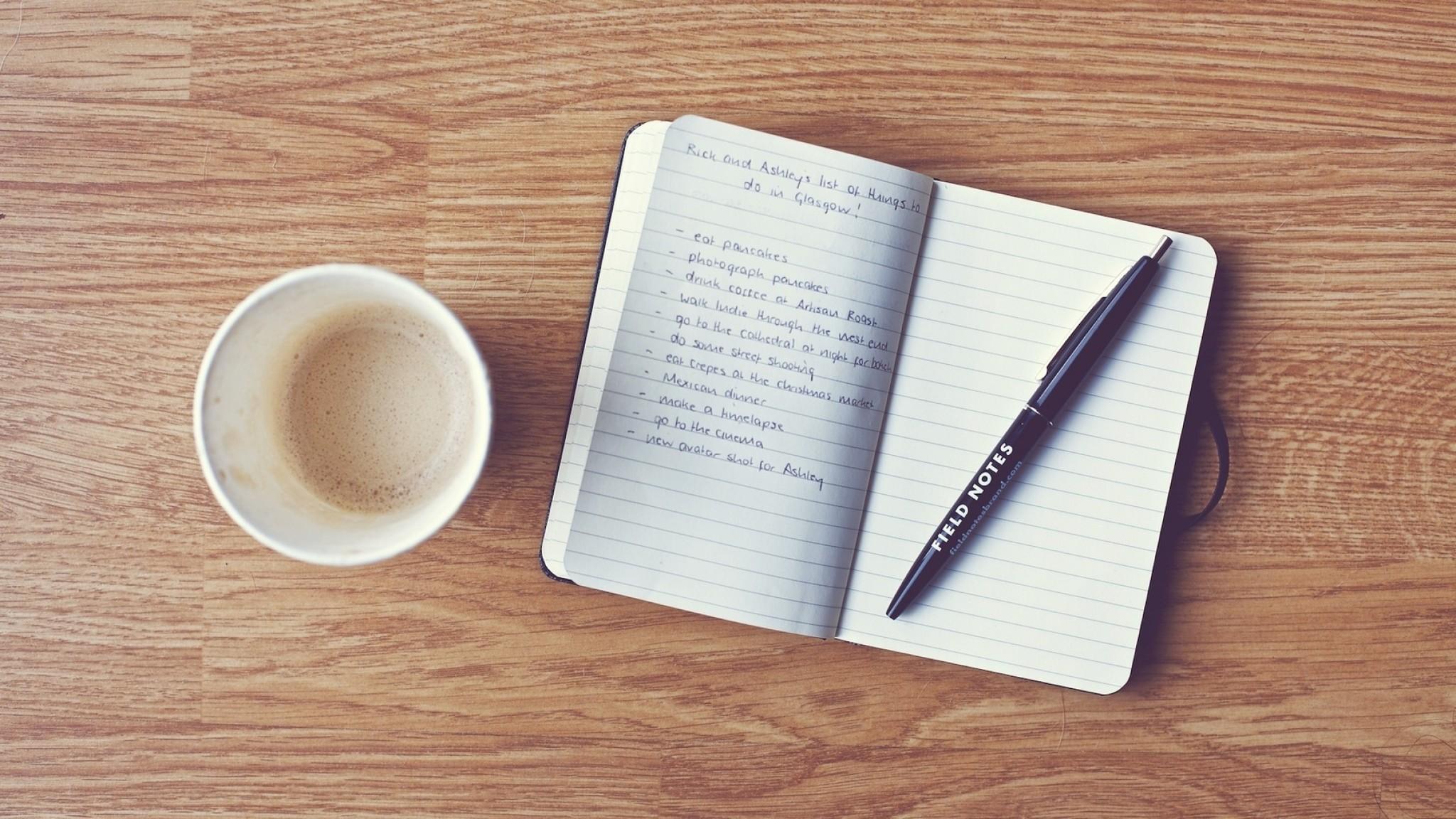 Download Wallpaper Pen, Coffee, Notebook, Writing HD HD .
