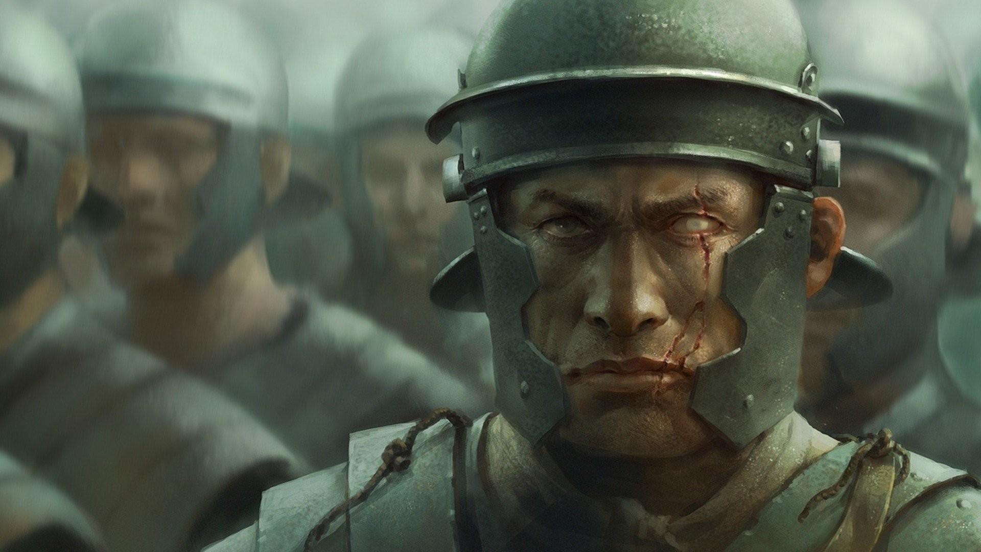 men warrior romans armour helmet face scar