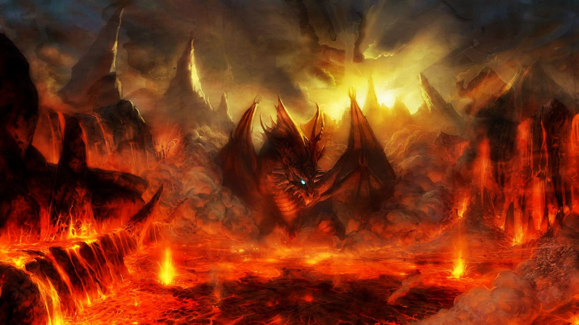Free Wallpapers – Dragon in the flame of hell wallpaper