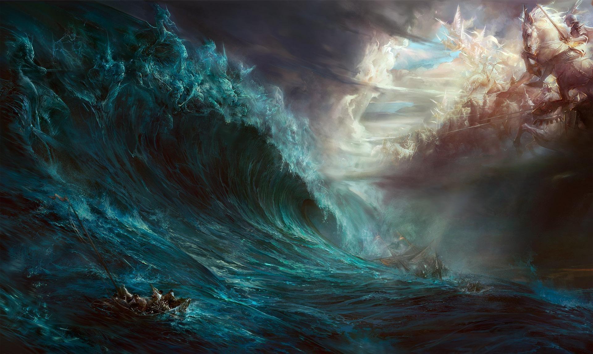 General fantasy art Heaven & Hell sea boat storm