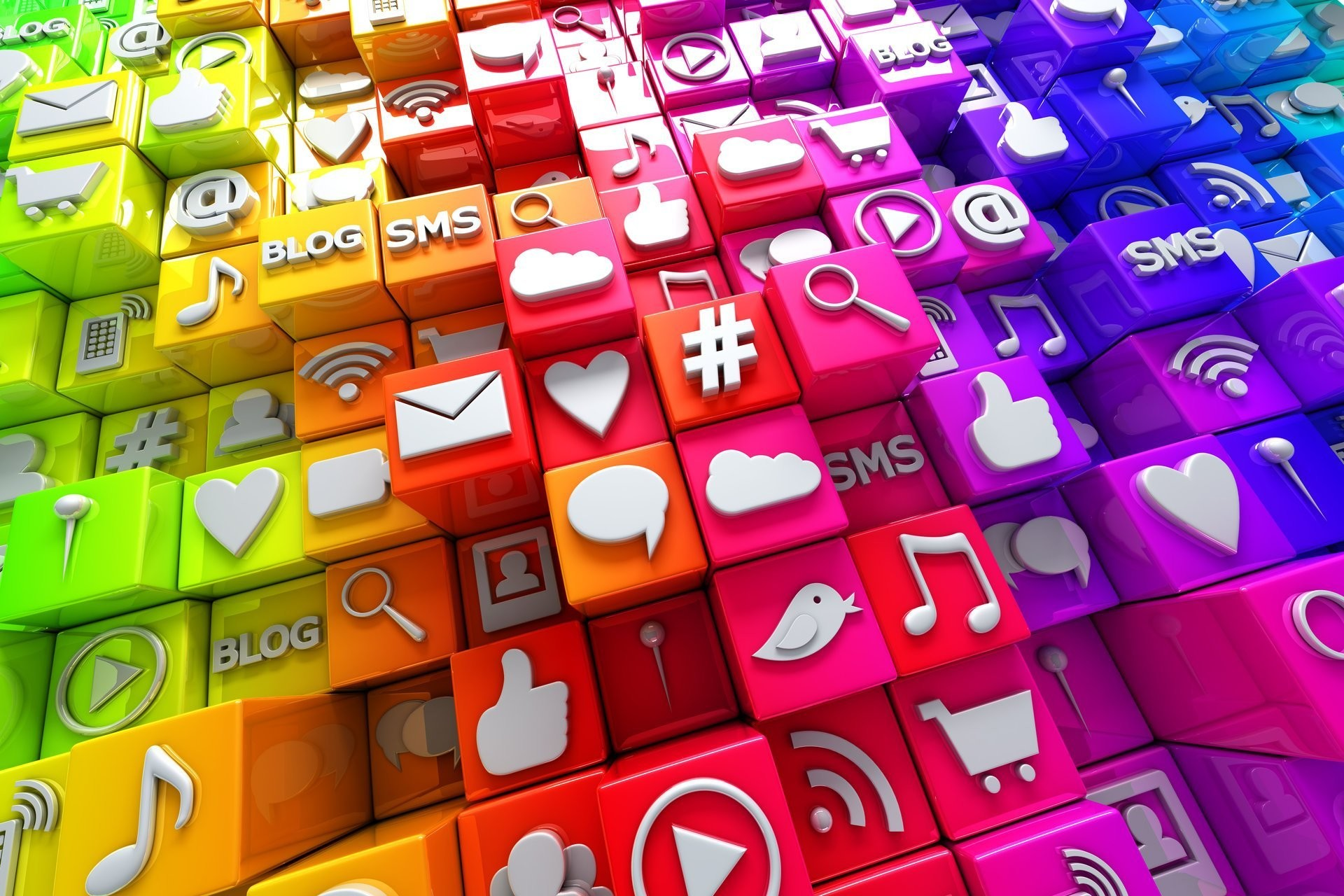 social media icons 3d cubes colorful blocks icons social networks internet