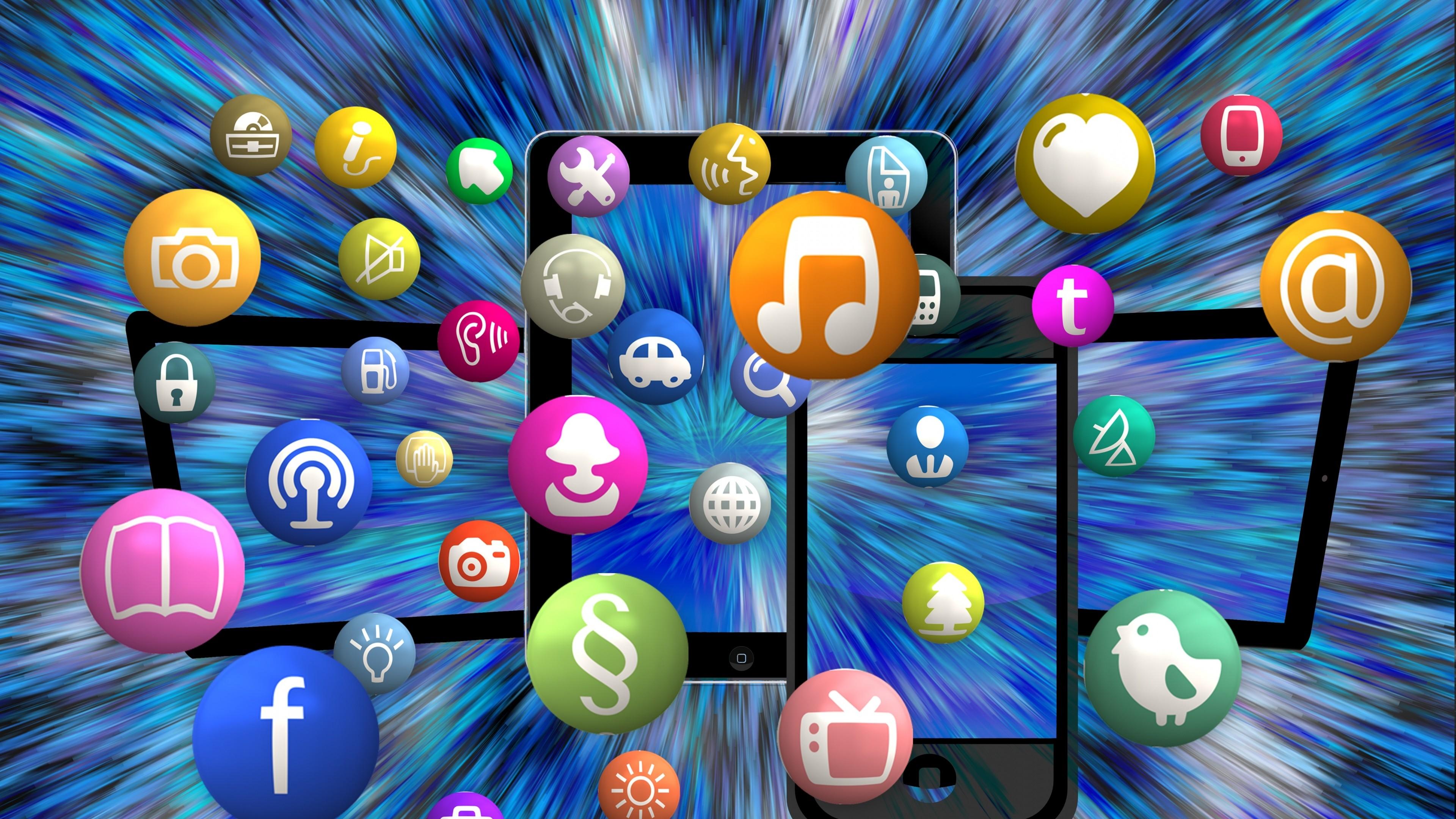 Preview wallpaper social networking, media, logos 3840×2160