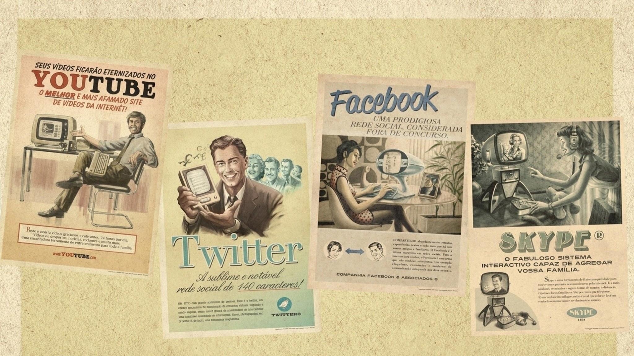 Preview wallpaper youtube, skype, twitter, facebook, social media,  internet, newspaper