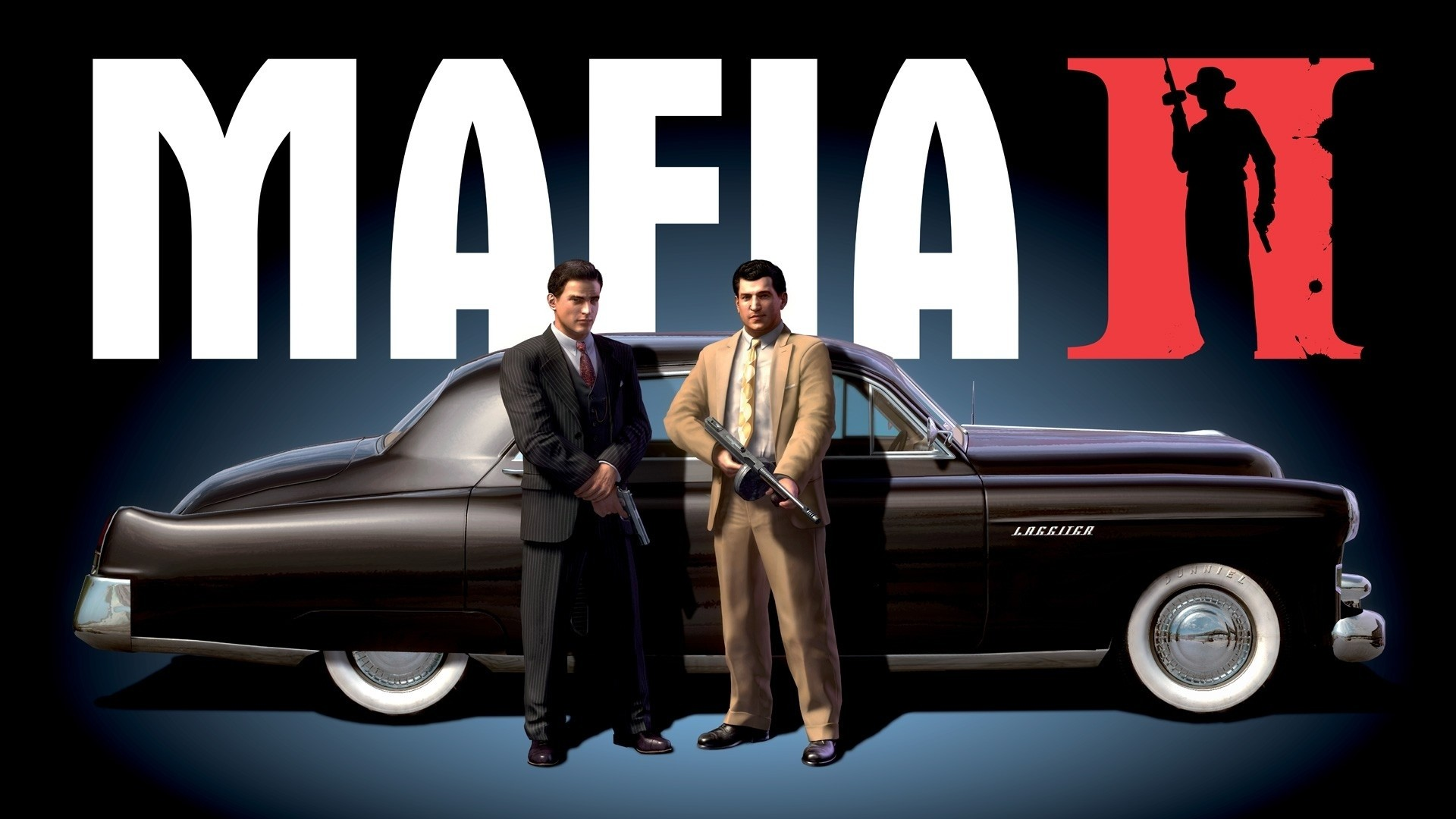 Preview wallpaper mafia 2, car, gun, suits 1920×1080