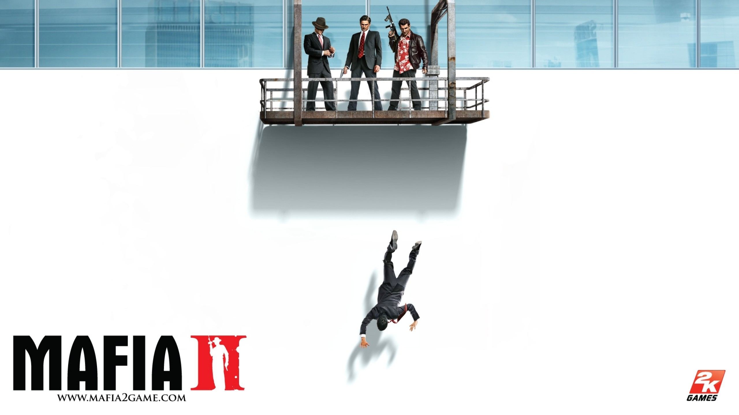 Preview wallpaper mafia 2, window, gun, jump 2560×1440