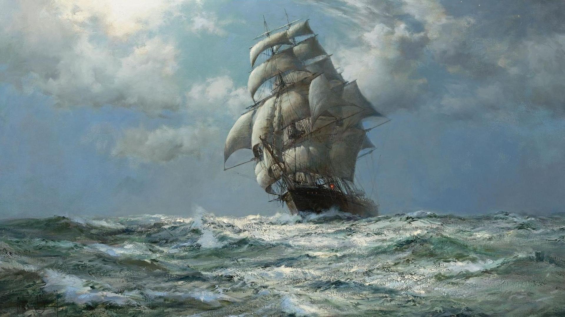 Artwork Montague Dawson Ocean Paintings Sail Ship Ships