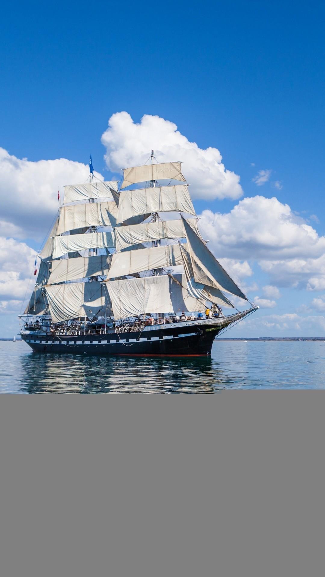 Ship Sea Sky Sail Wave iPhone 7 Wallpaper Download .