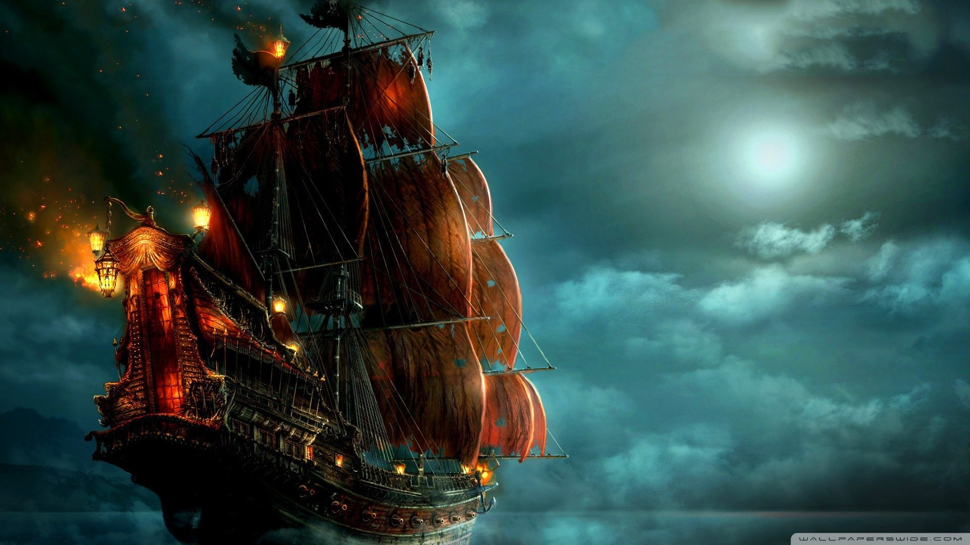 Old Sailing Ship on Fire gaming games images pictures screenshots  GameScapes GamingShot concept digital art VistaLore