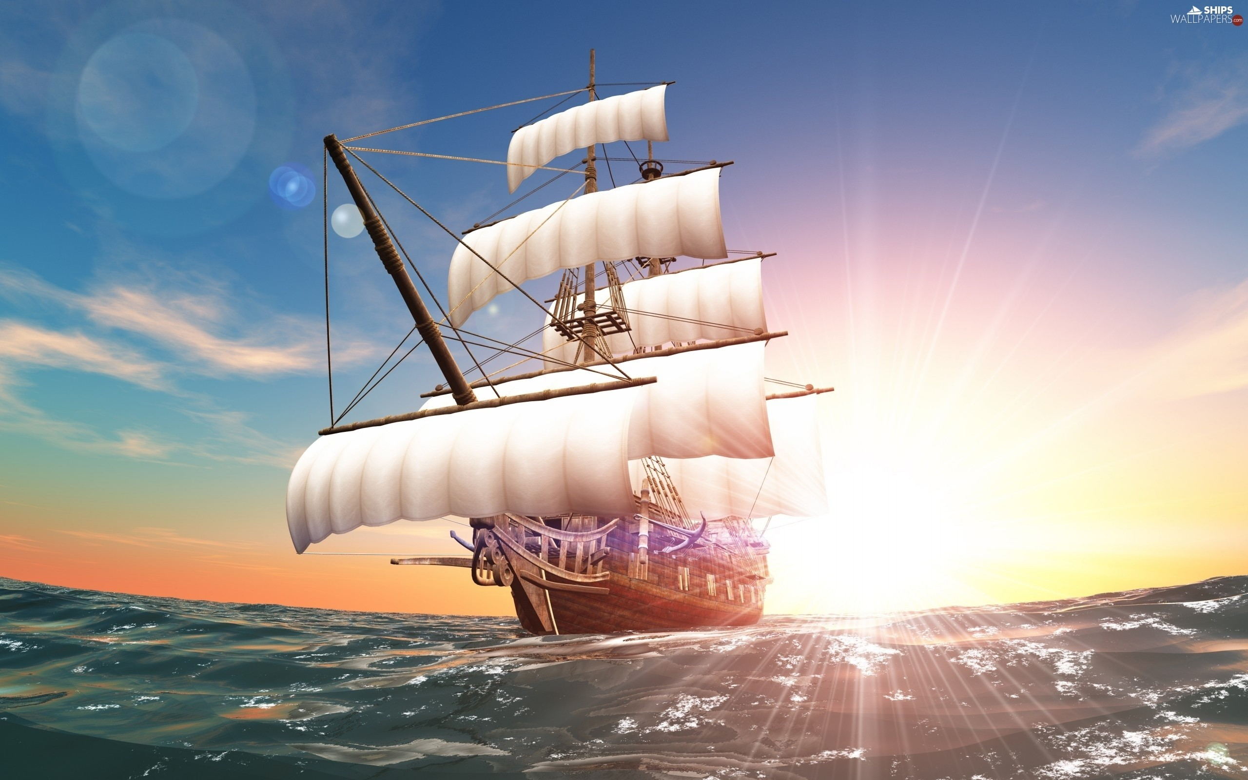 sailing vessel, Great Sunsets, sea – Ships wallpapers .