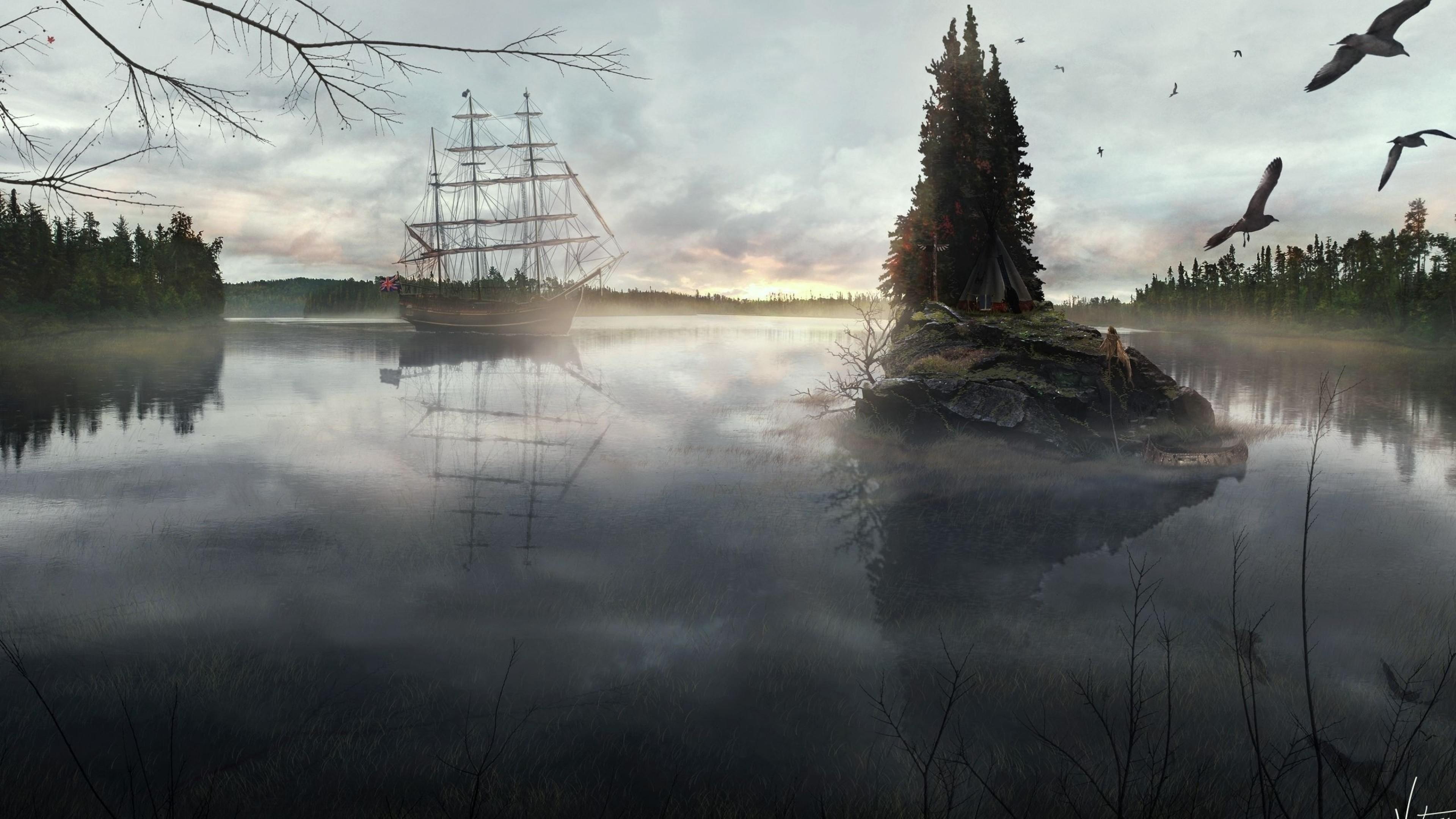 Wallpaper ship, sea, birds, island, tree, tent, haze,