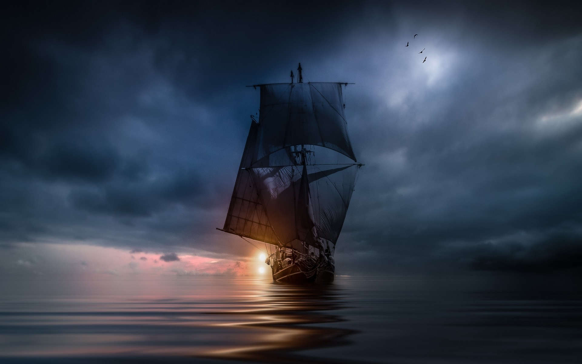 landscape, Nature, Sea, Clouds, Sunset, Sailing Ship, Storm, Blue, Water,  Birds, Flying Wallpapers HD / Desktop and Mobile Backgrounds