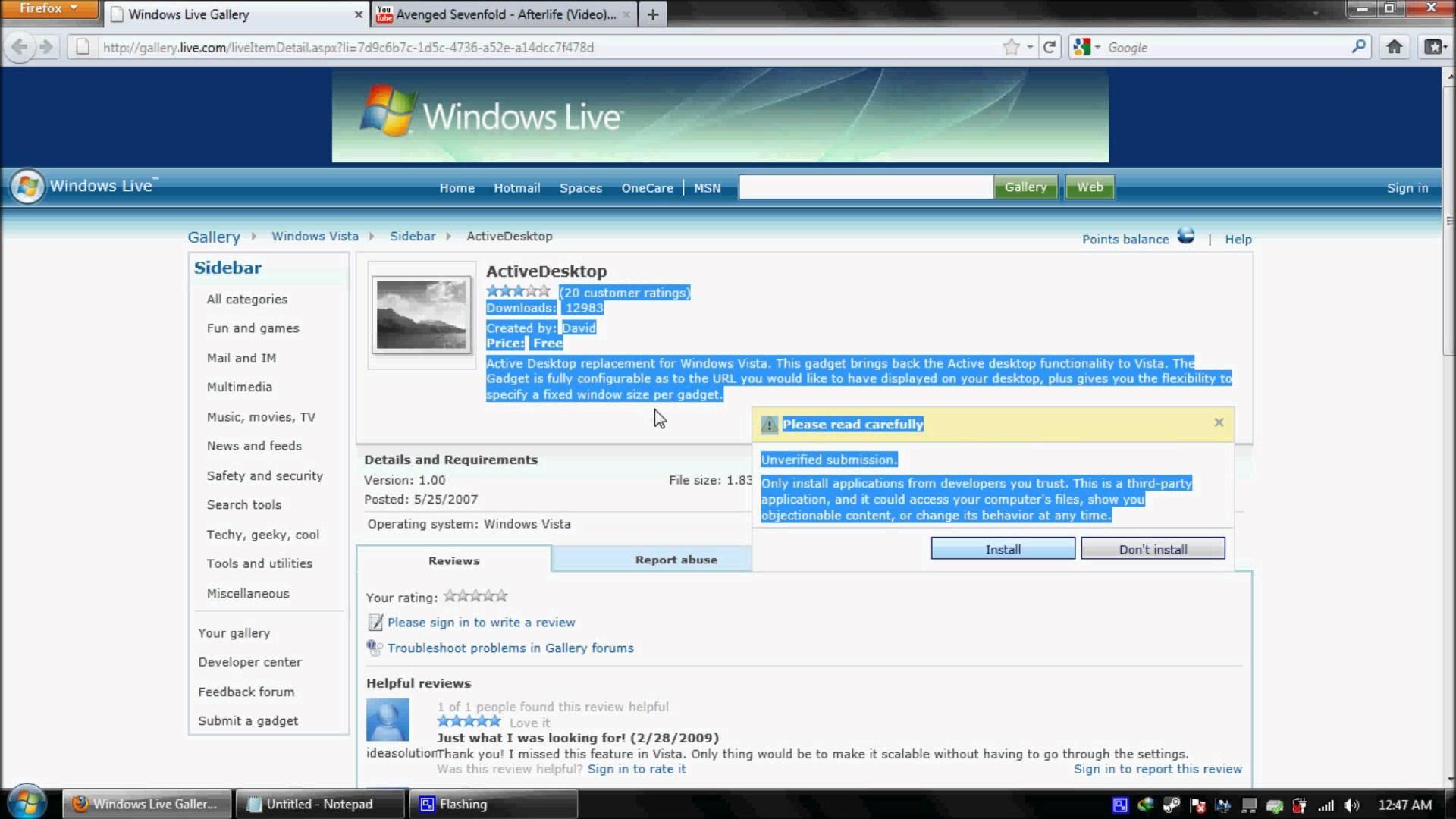 Windows 7 Active Desktop HTML