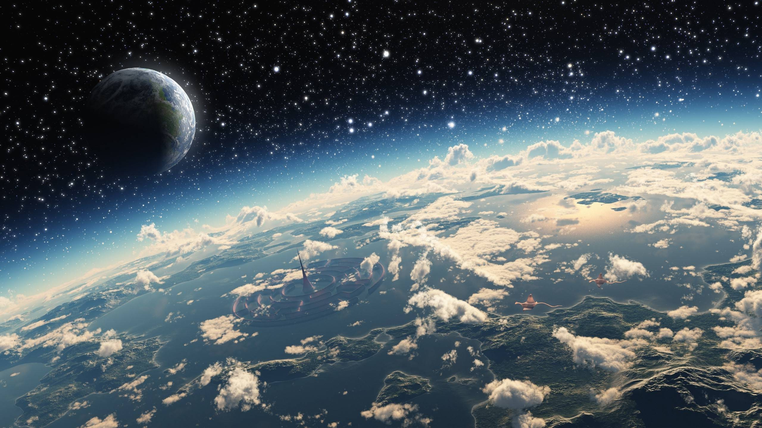 stars, Space Art, Planet, Clouds, Atmosphere, Science Fiction . …