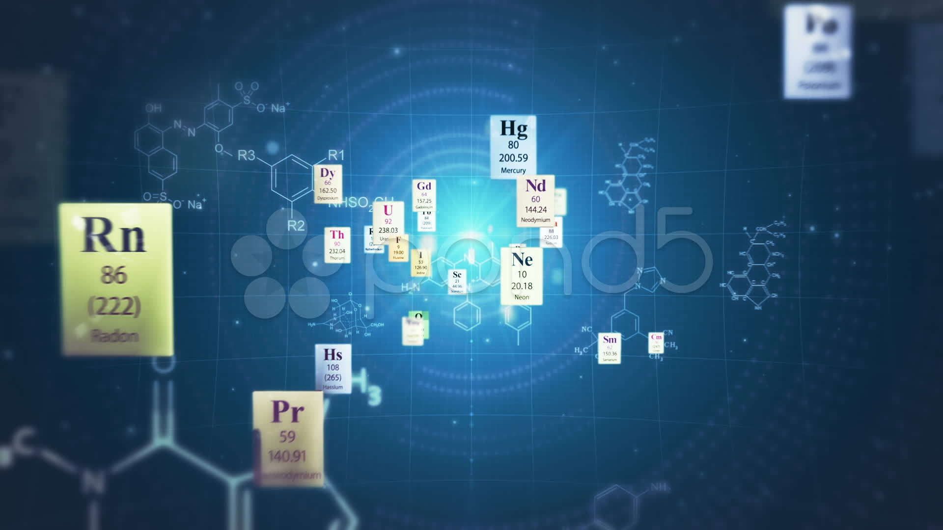 Scientific Backgrounds. Elements Of Periodic Table And Chemical .
