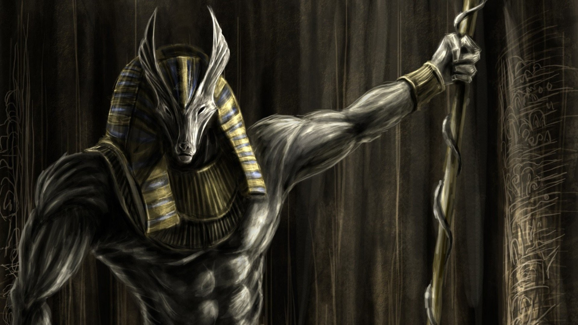 Anubys Egyptian God of the Dead wallpaper background