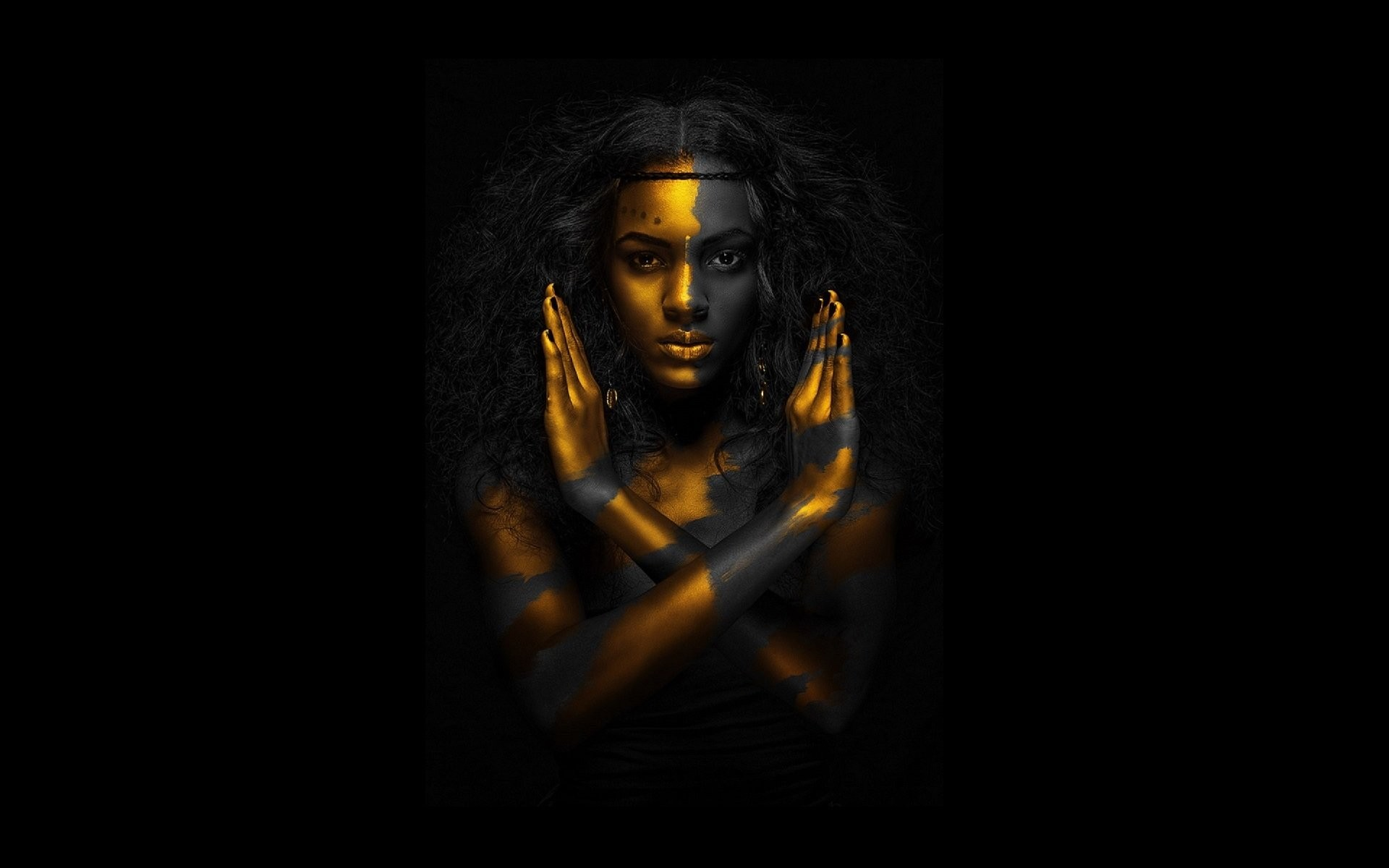 Egyptian qeen gold black woman resolution wallpaper