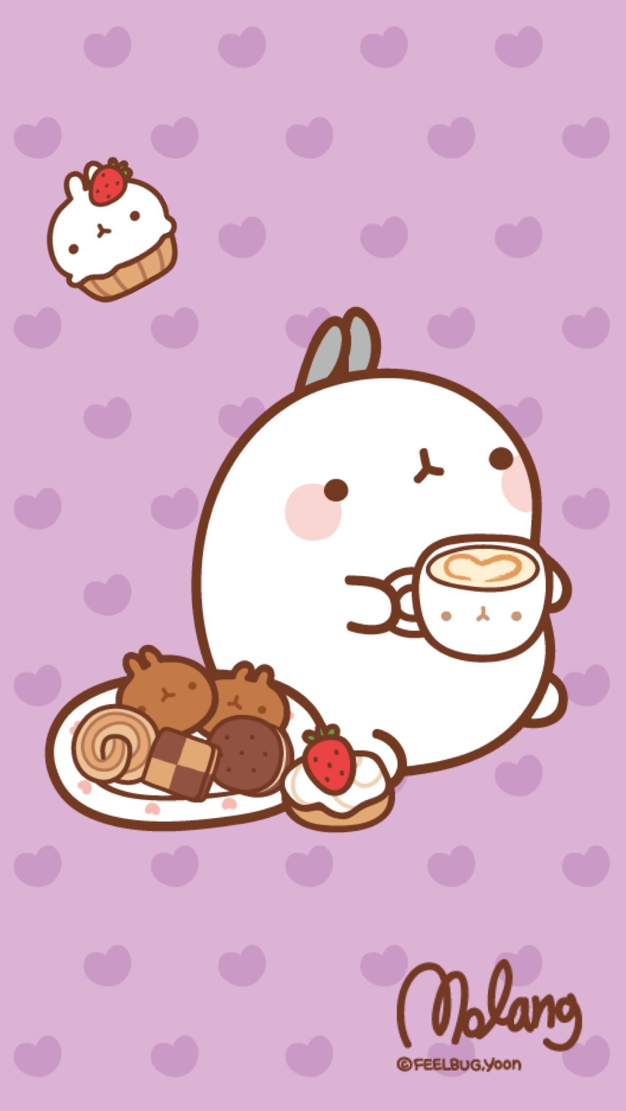 Molang Bunny with Kawaii Food