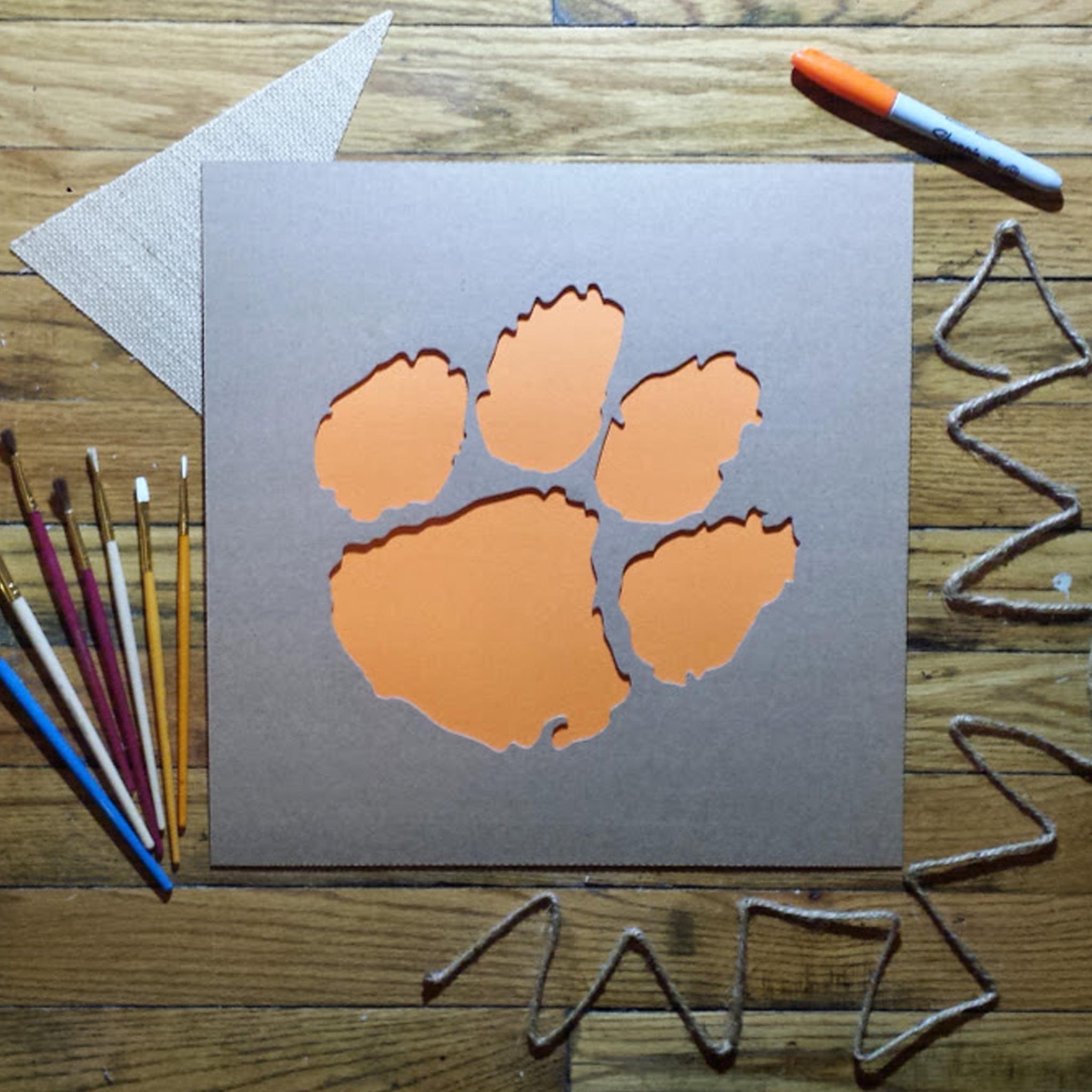 Clemson Tiger Paw Stencil