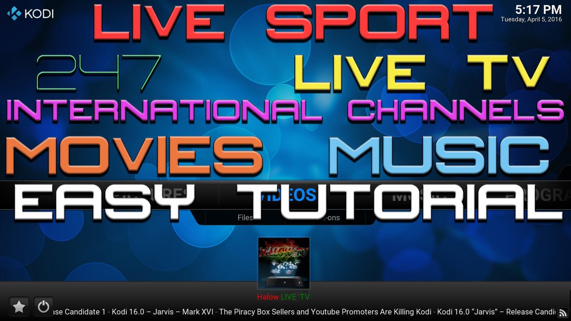 LIVE TV – LIVE SPORT-INTERNATIONAL CHANNEL-247-MOVIES-MUSIC TV-HALOW LIVE TV  KODI – APRIL 2016 – YouTube