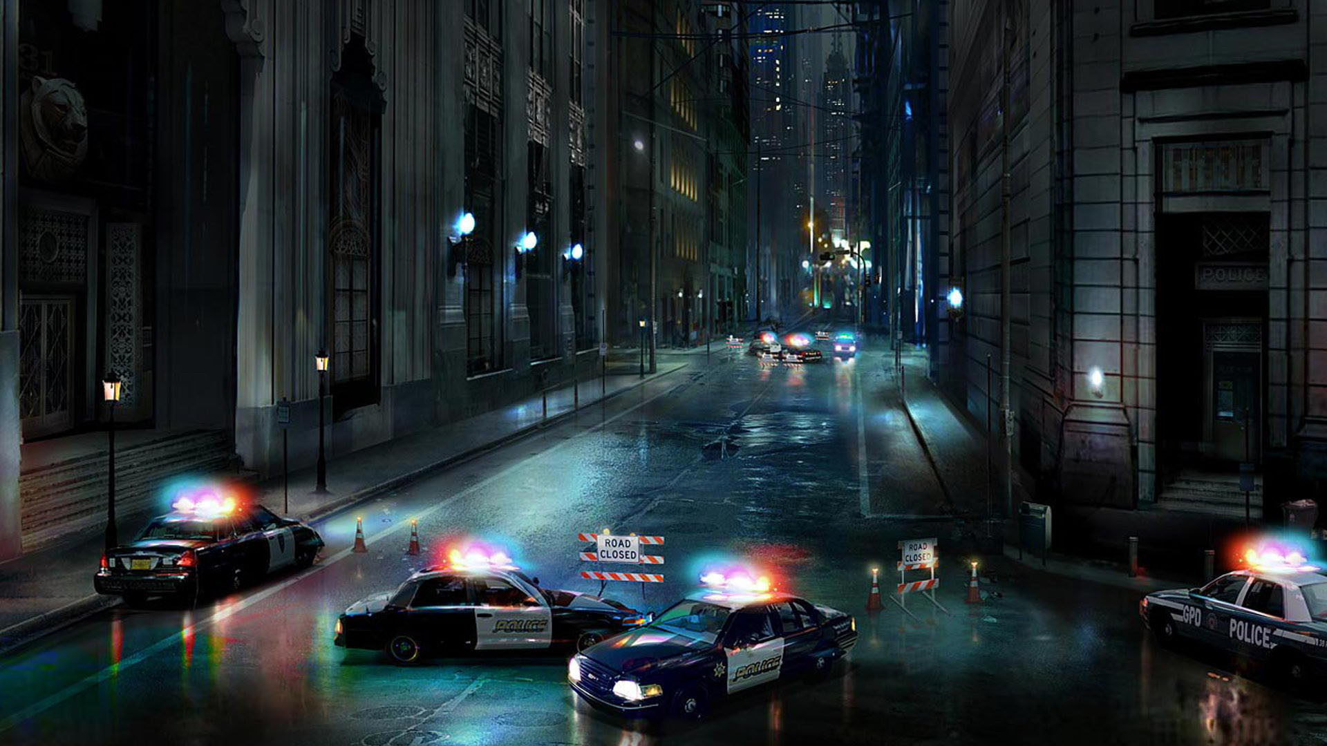Gotham Scene, Road Closed by the Police wallpaper