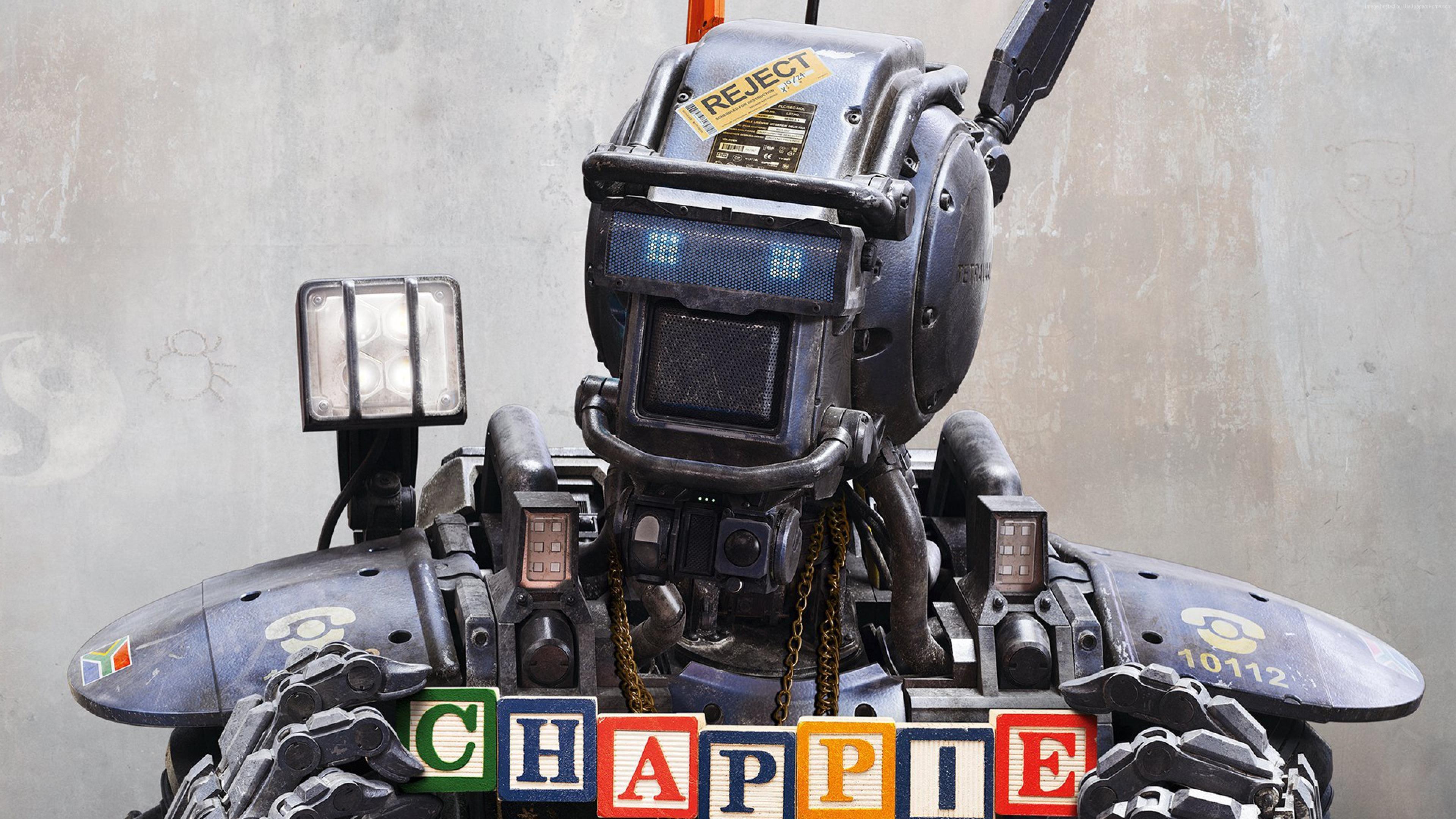 Chappie, Best Movies of 2015, robot, police, wallpaper, gun (horizontal …