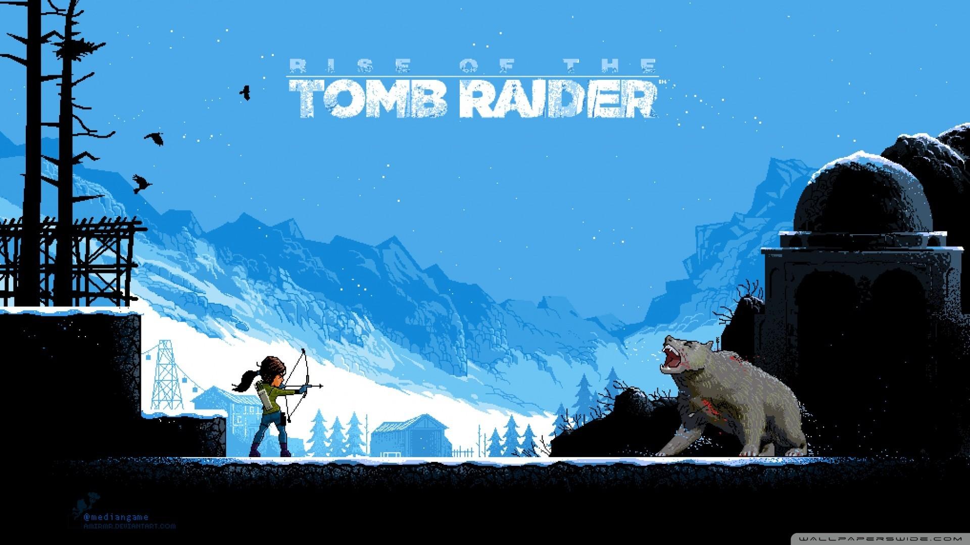 Tomb Raider, Rise Of The Tomb Raider, Pixel Art, Video Games Wallpaper