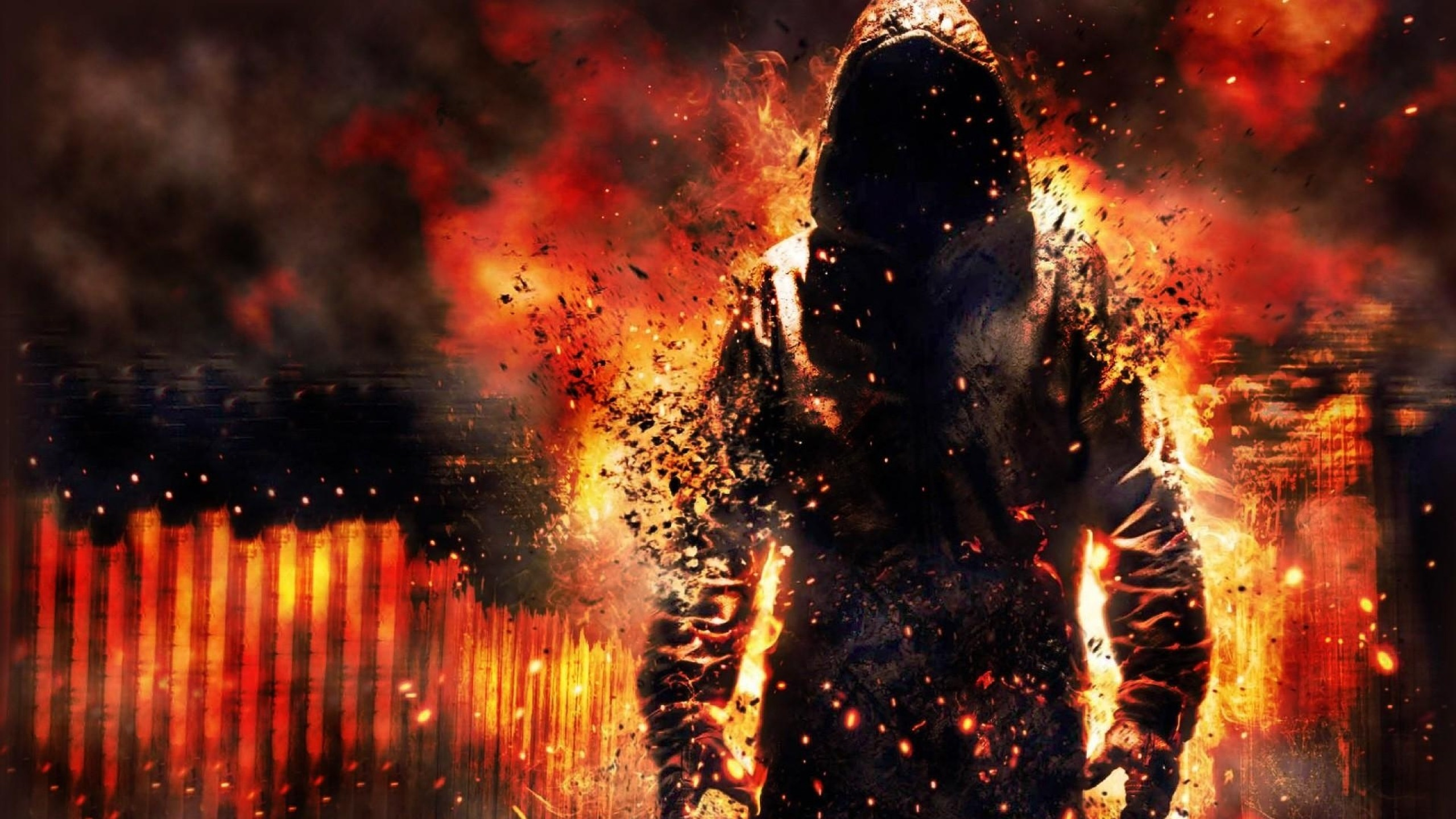 Preview wallpaper fire, destruction, debris, cape, biggin, man 2560×1440
