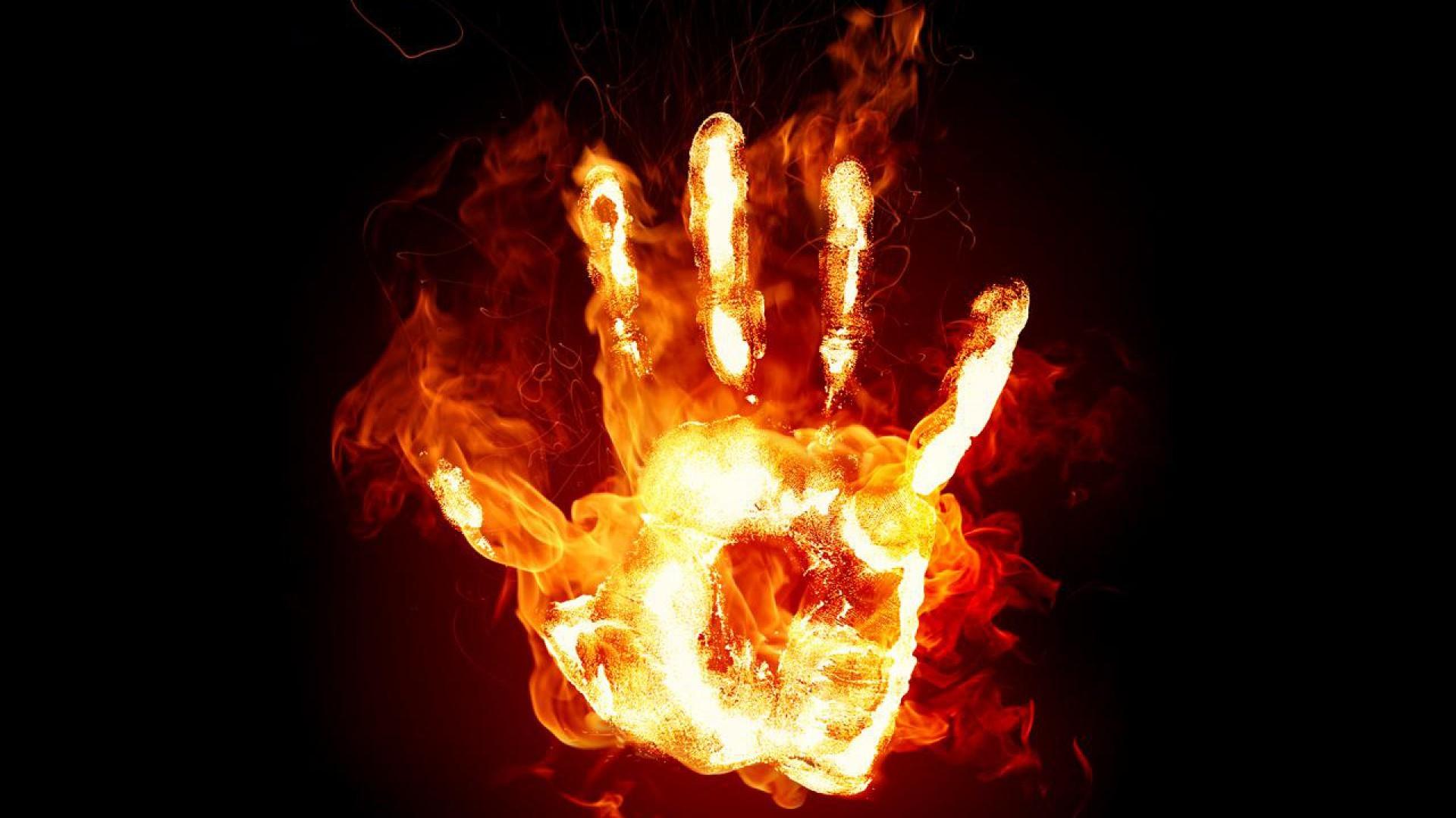 Fire hand 3d wallpaper HD.
