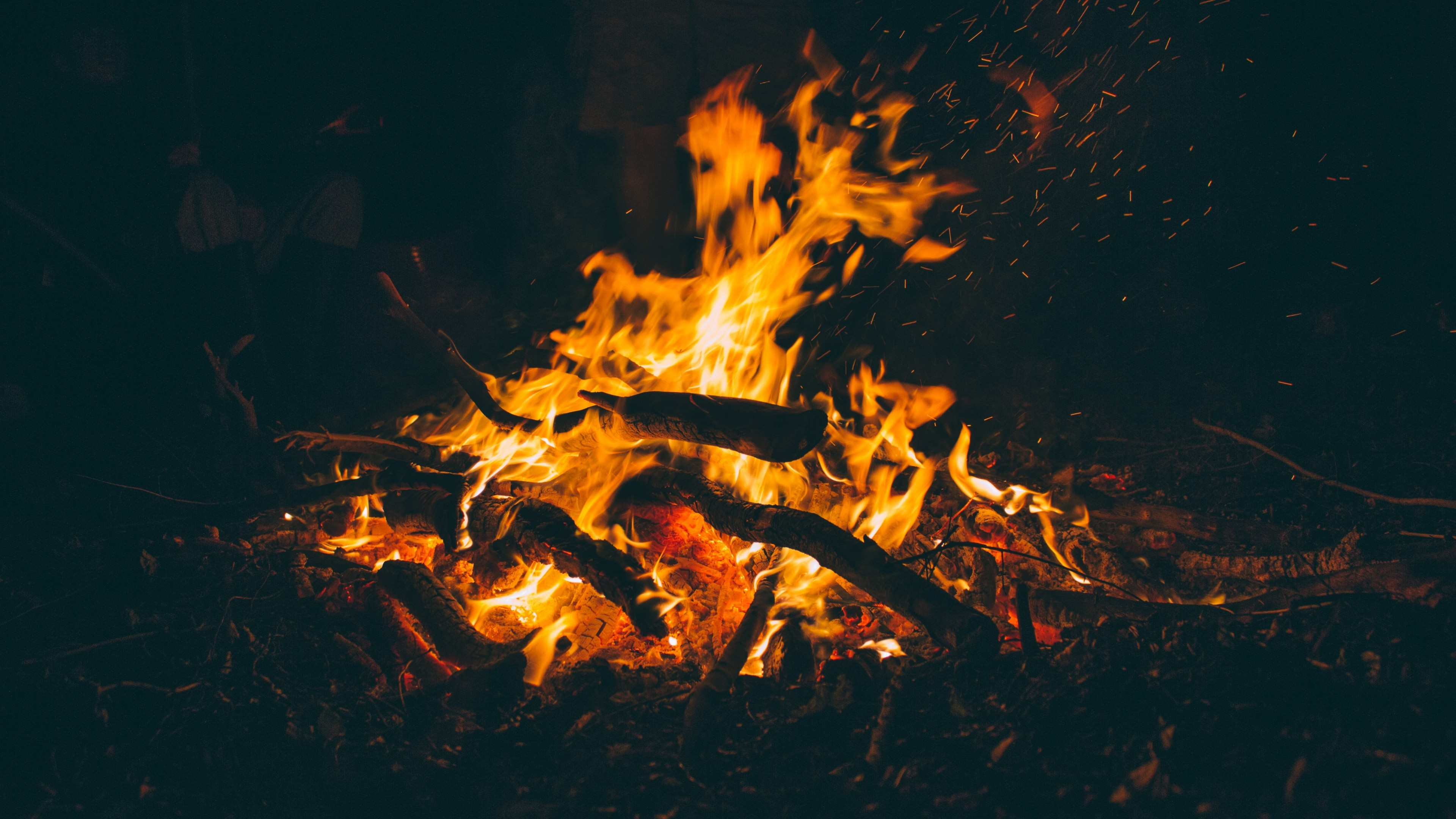 Wallpaper fire, firewood, ash