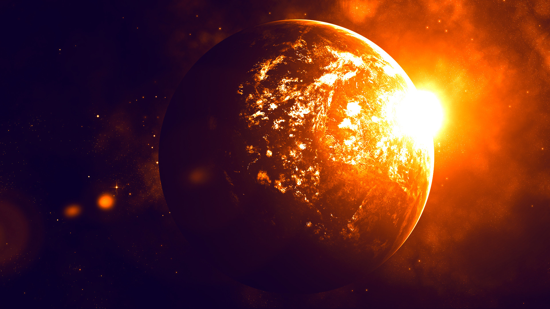 … The Planet on Fire (Wallpaper) by Hardii