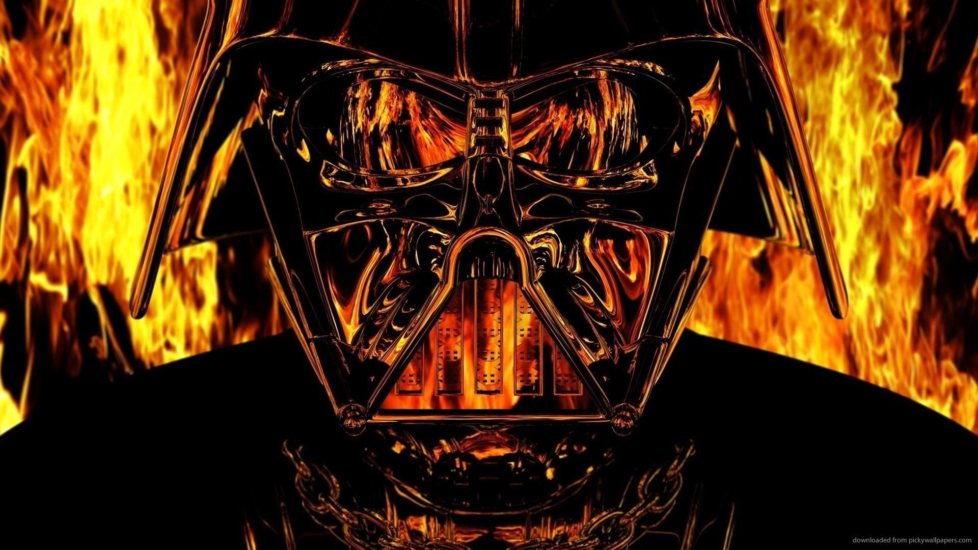 Darth Vader On Fire Wallpaper