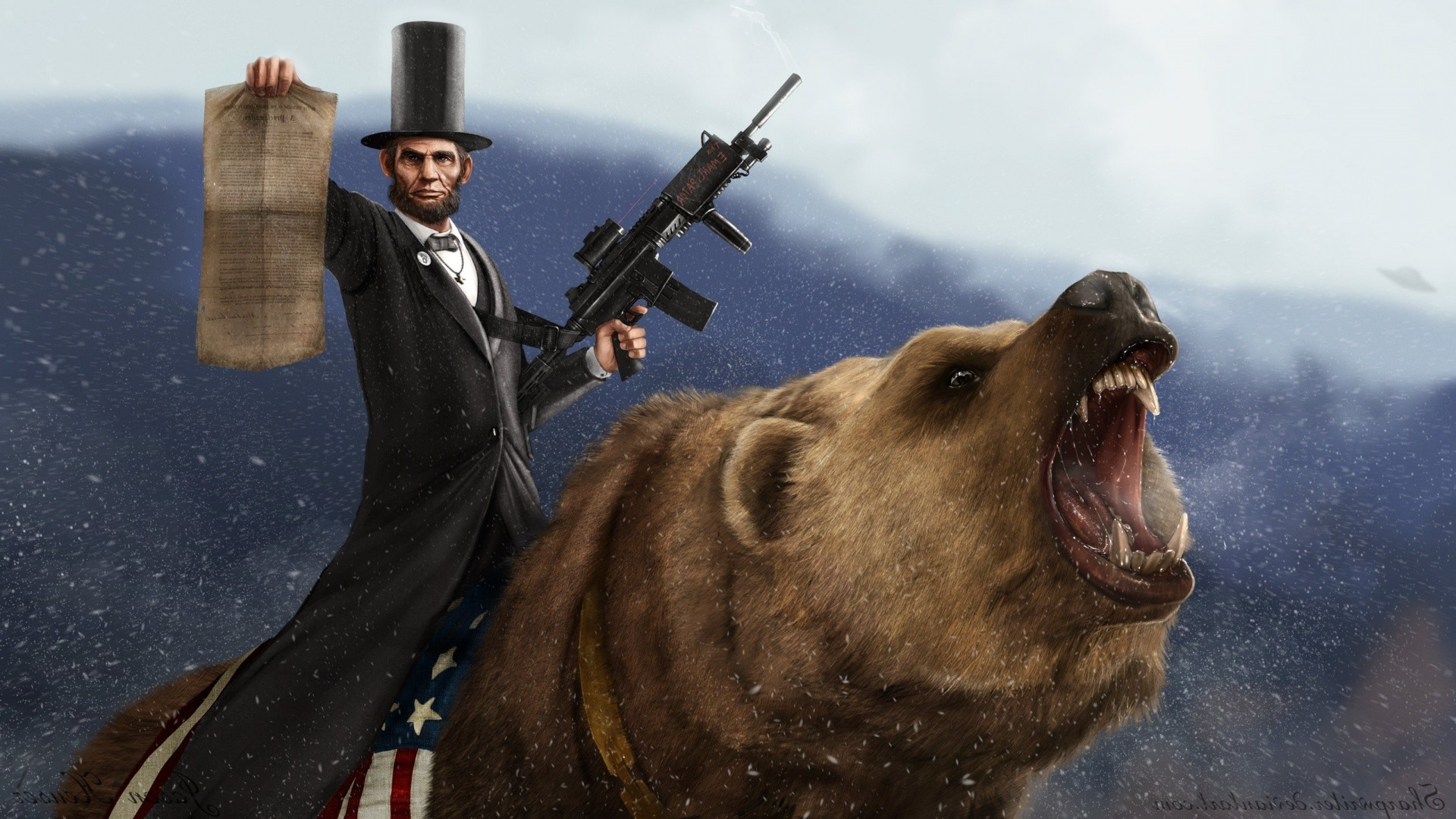 Abraham Lincoln riding a bear.