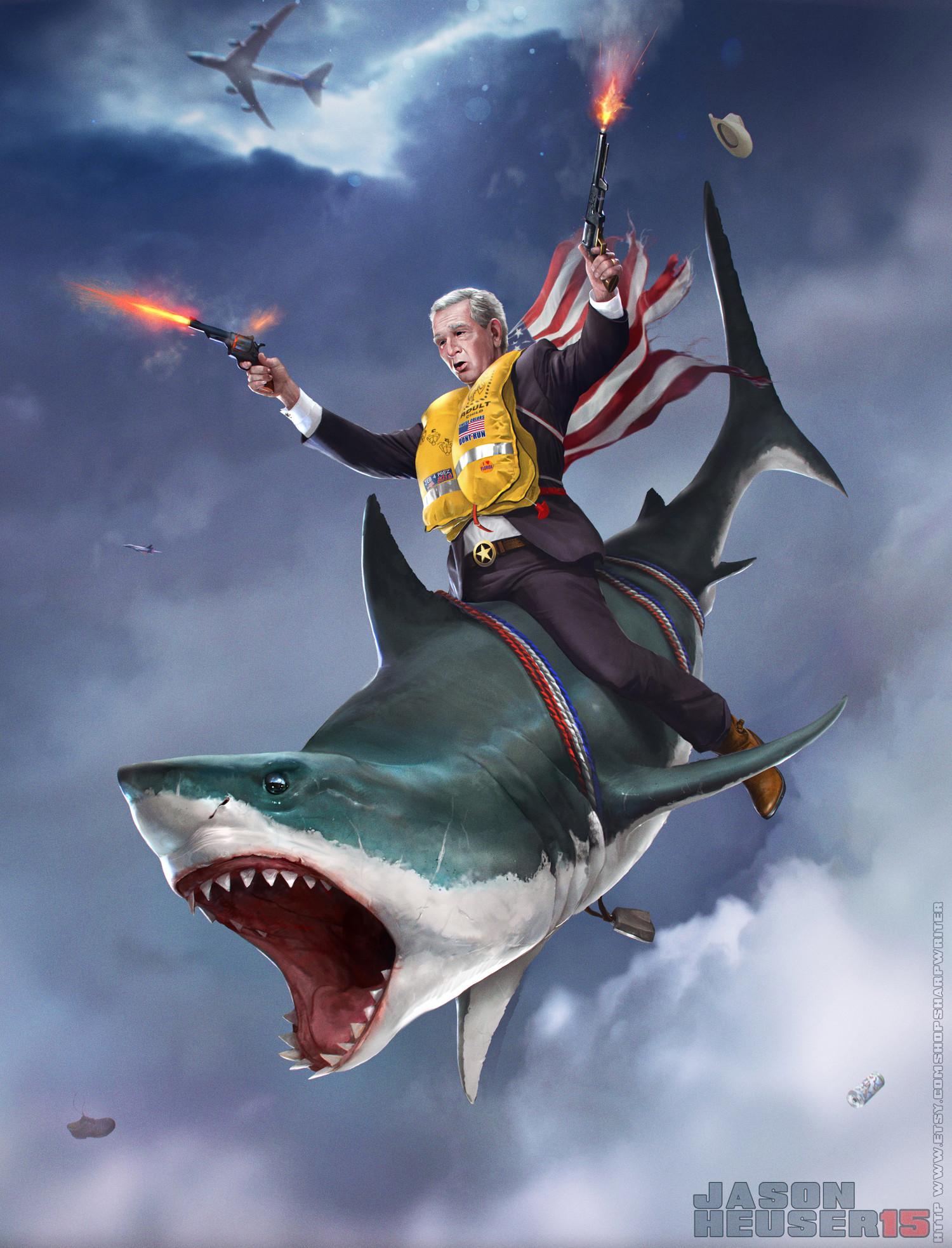George DUBYA Bush : On a Shark
