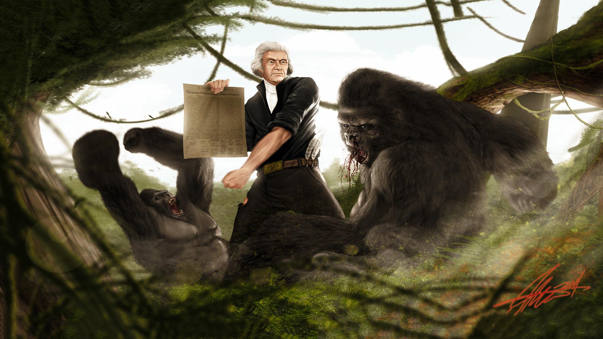 Thomas Jefferson Vs Gorilla by SharpWriter · Gorilla WallpaperPresidential  …
